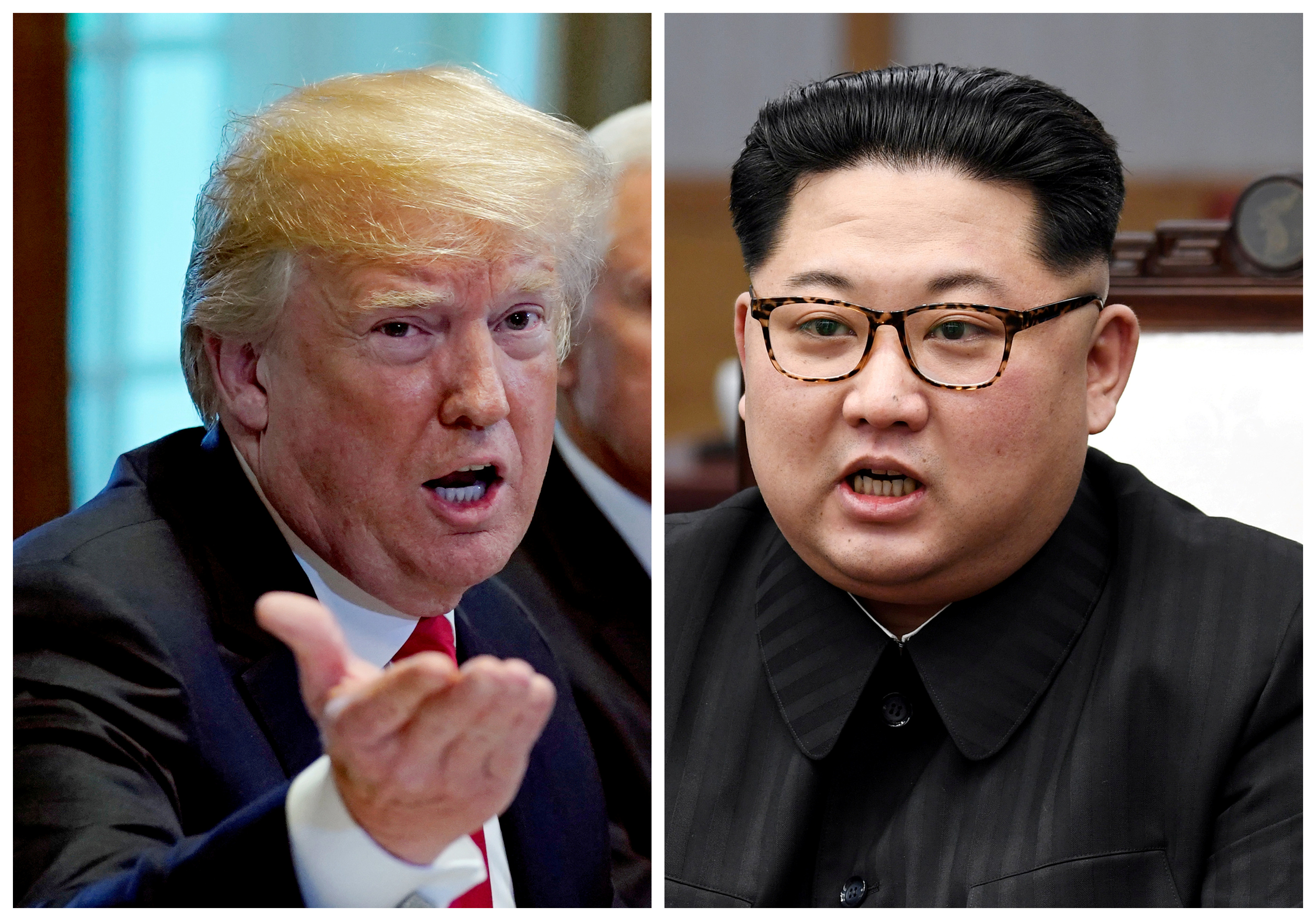 A combination photo shows President Donald Trump and North Korean leader Kim Jong Un in Washington, DC, May 17, 2018 and in Panmunjom, South Korea, April 27, 2018 respectively.