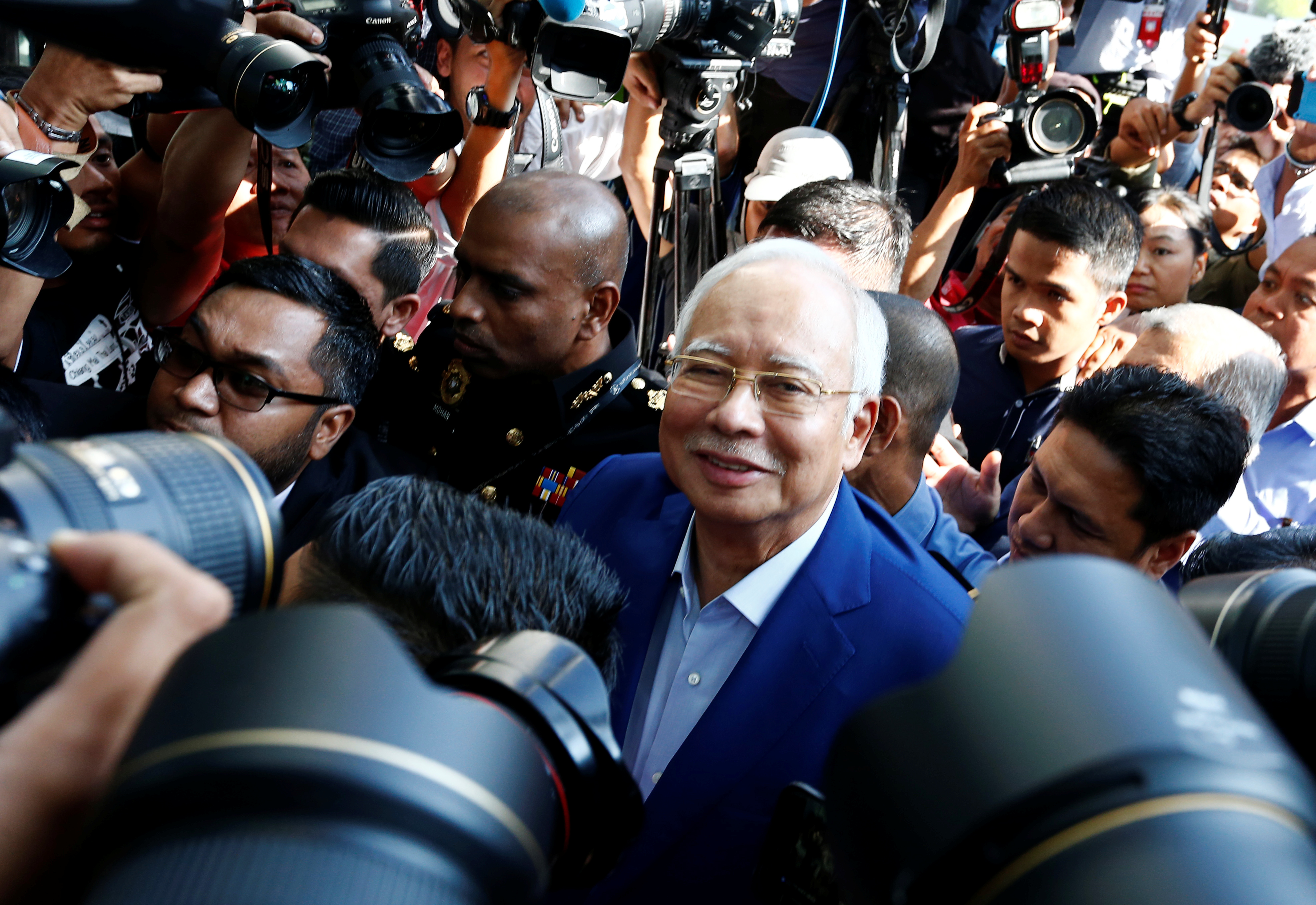 Malaysia's former prime minister Najib Razak arrives to give a statement to the Malaysian Anti-Corruption Commission (MACC) in Putrajaya, Malaysia May 22, 2018.