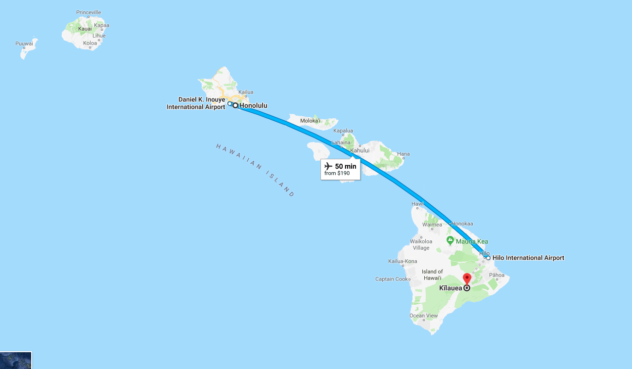 Map of distance between Kilauea, Hawaii's most active volcano, and Honolulu.