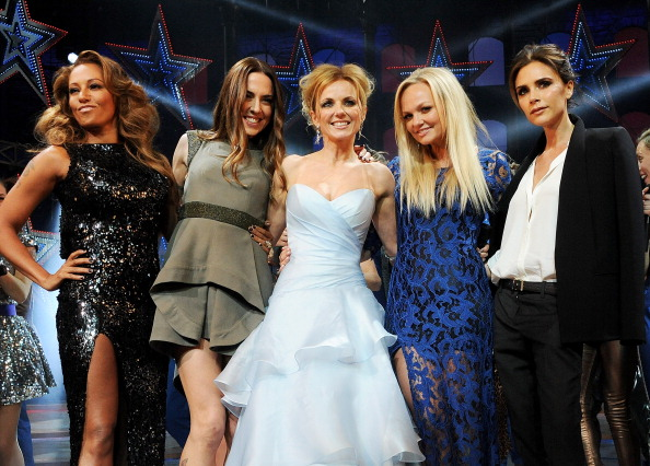 The Spice Girls bow at the curtain call during the Gala Press Night performance of 'Viva Forever' at the Piccadilly Theatre on December 11, 2012 in London, England.