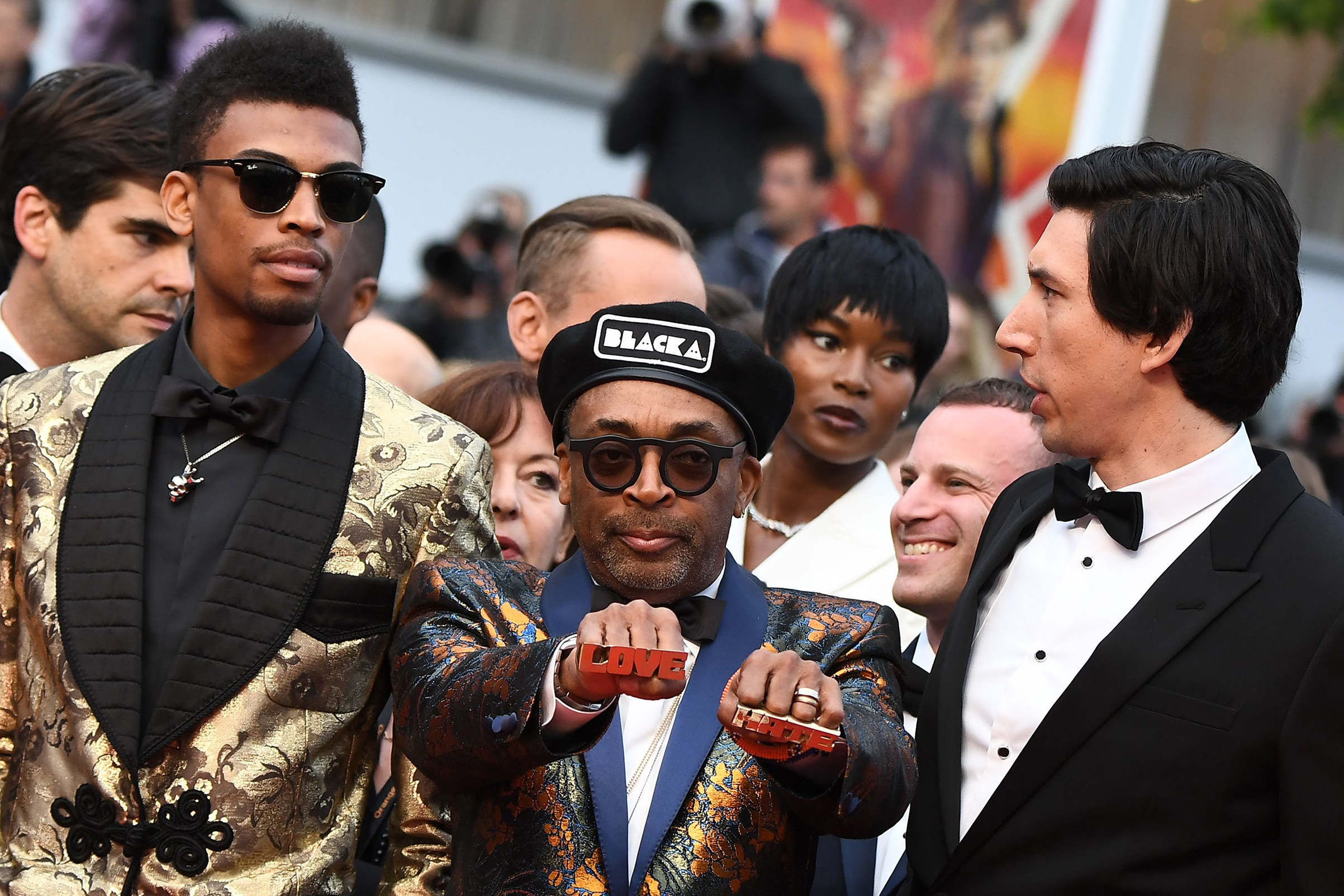 Director Spike Lee and actor Adam Driver, right, arrive for the screening of  BlacKkKlansman  at the Cannes Film Festival in southern France on May 14, 2018.