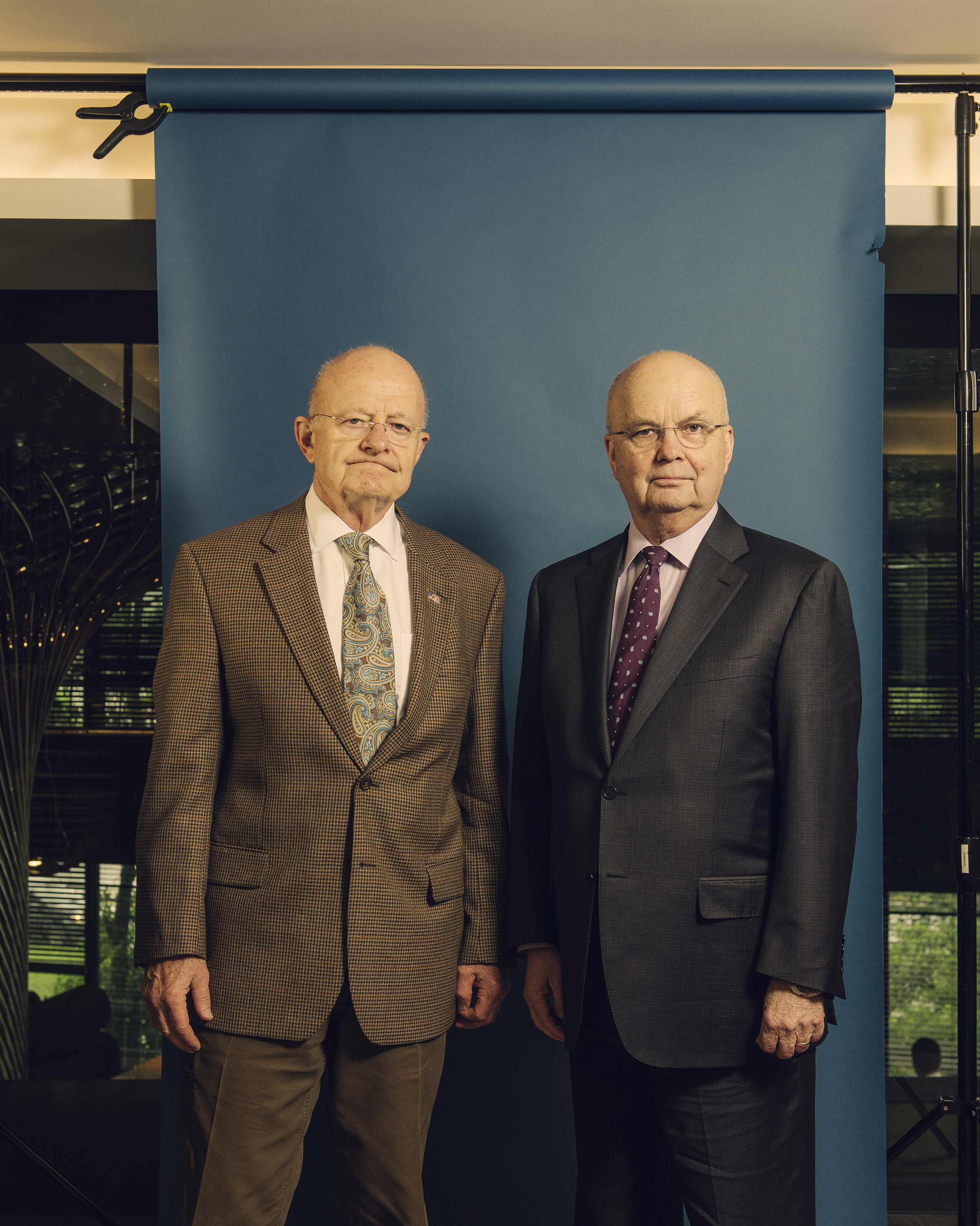 Former Director of National Intelligence James Clapper, left, and former CIA chief Michael Hayden at the Watergate Hotel in May