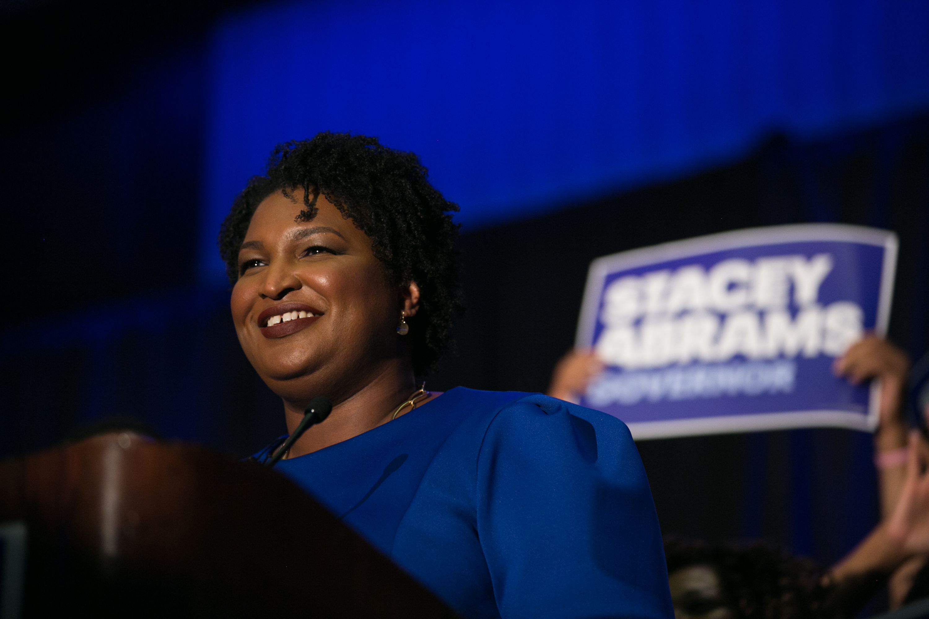 ATLANTA, GA - MAY 22:  Georgia Democratic Gubernatorial candidate Stacey Abrams takes the stage to declare victory.