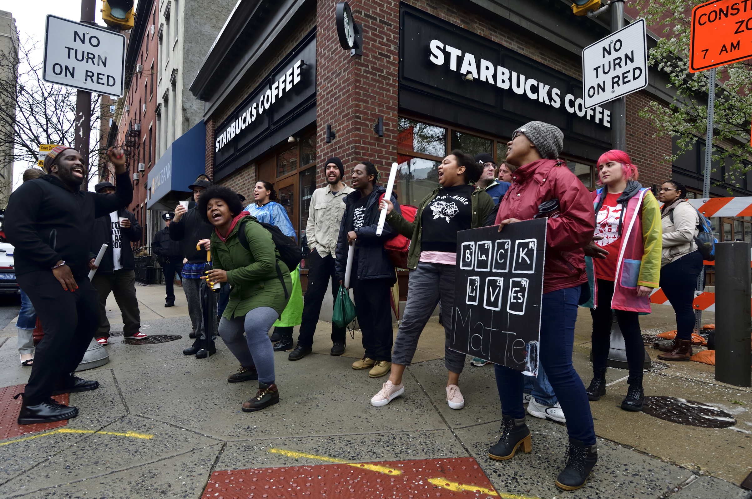 Protesters gather on April 16, 2018, for  protest at the Starbucks location in Center City Philadelphia where days earlier two black men were arrested.