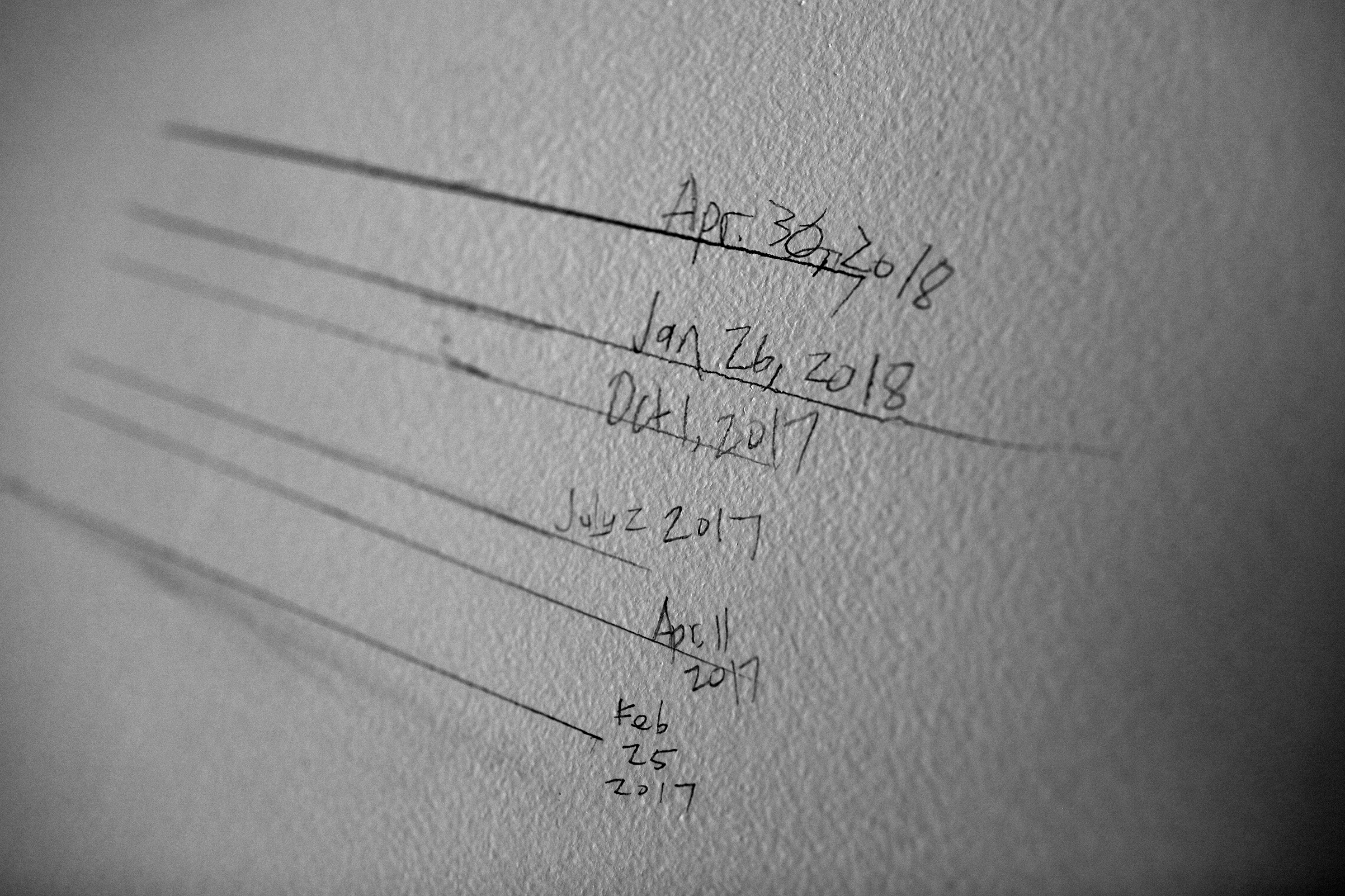 Lotus' growth chart on the wall at home. She's grown almost 4 inches in the last year and Forest has grown almost 5.