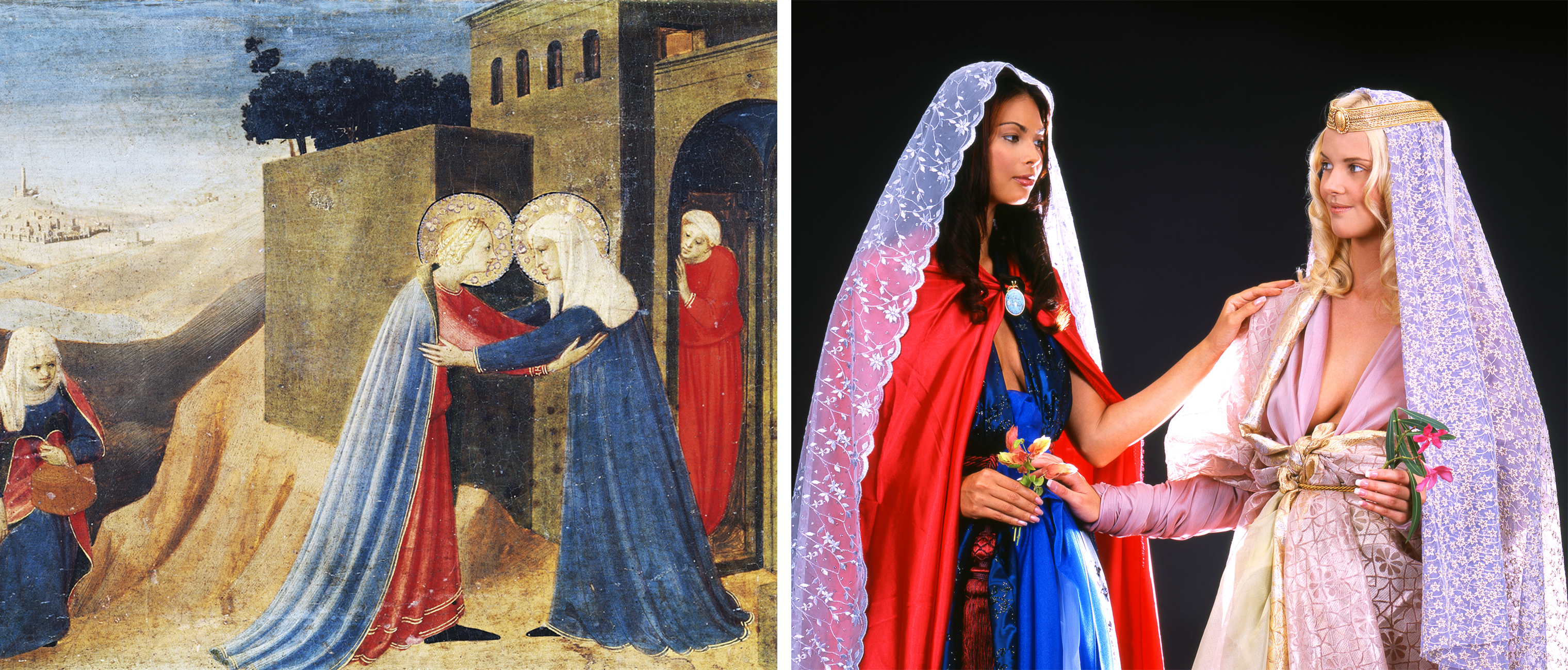 Left: Fra Angelico, The Annunciation of Cortona (detail of Mary's visit to Elizabeth) (Getty Images), 1433-1434; Right: Nika Nesgoda, Ad Visitatio, 2002