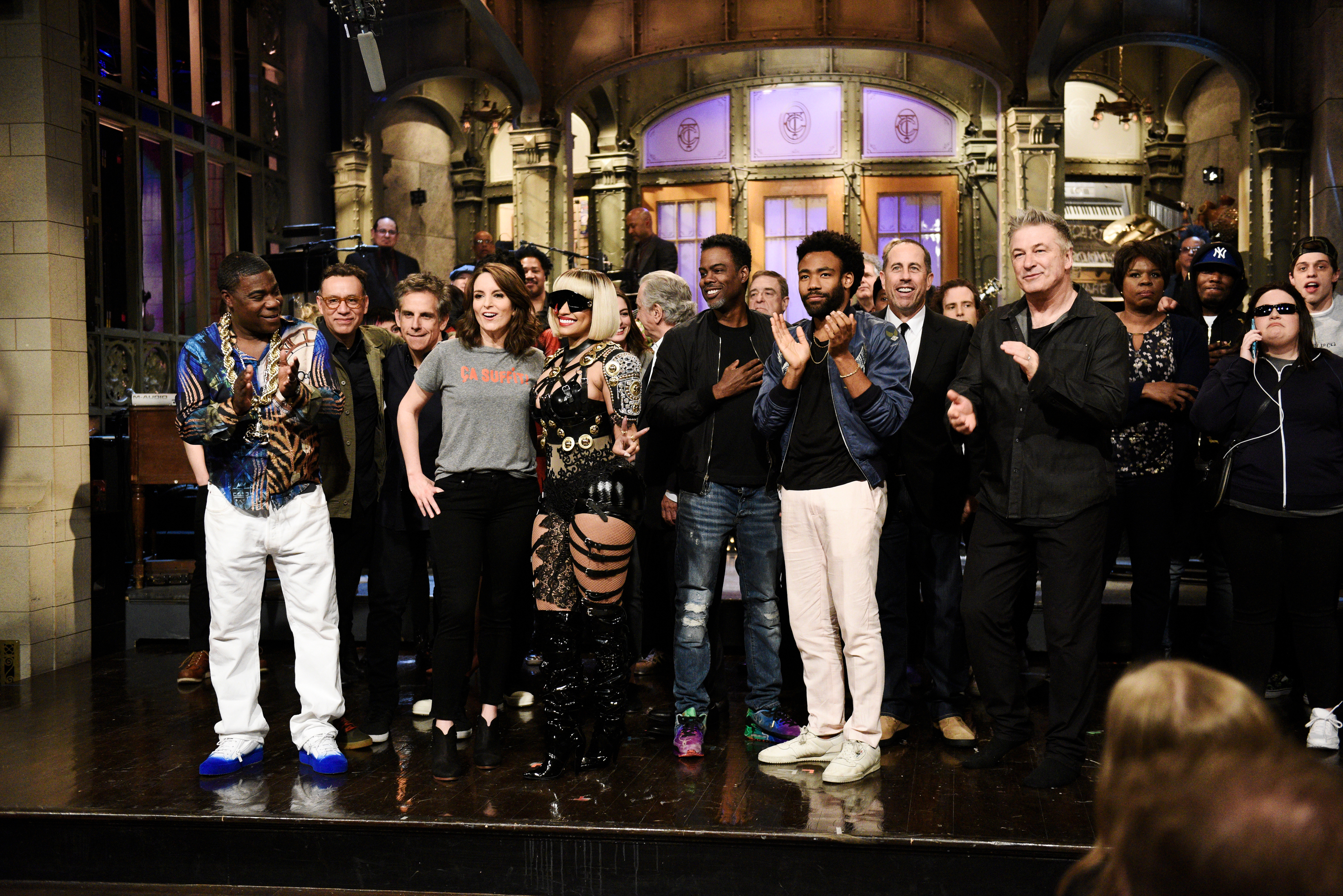 SATURDAY NIGHT LIVE --  Tina Fey  Episode 1746 -- Pictured: (l-r) Tracy Morgan, Fred Armisen, Ben Stiller, Host Tina Fey, Musical Guest Nicki Minaj, Chris Rock, Donald Glover, Jerry Seinfeld,  Alec Baldwin during  Goodnights & Credits  in Studio 8H on Saturday, May 19, 2018.