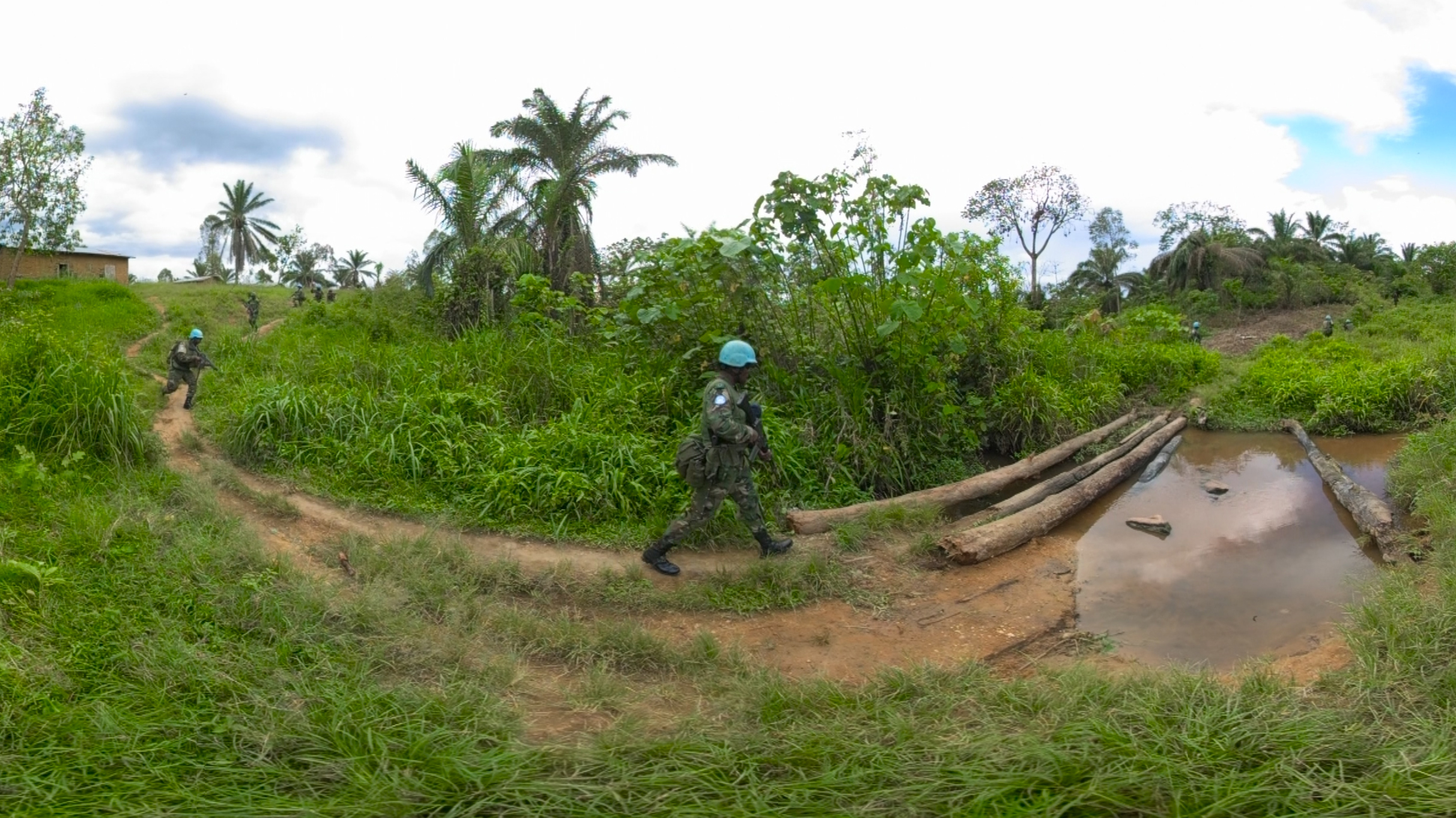A still from the UN virtual reality film Under the Blue Helmet