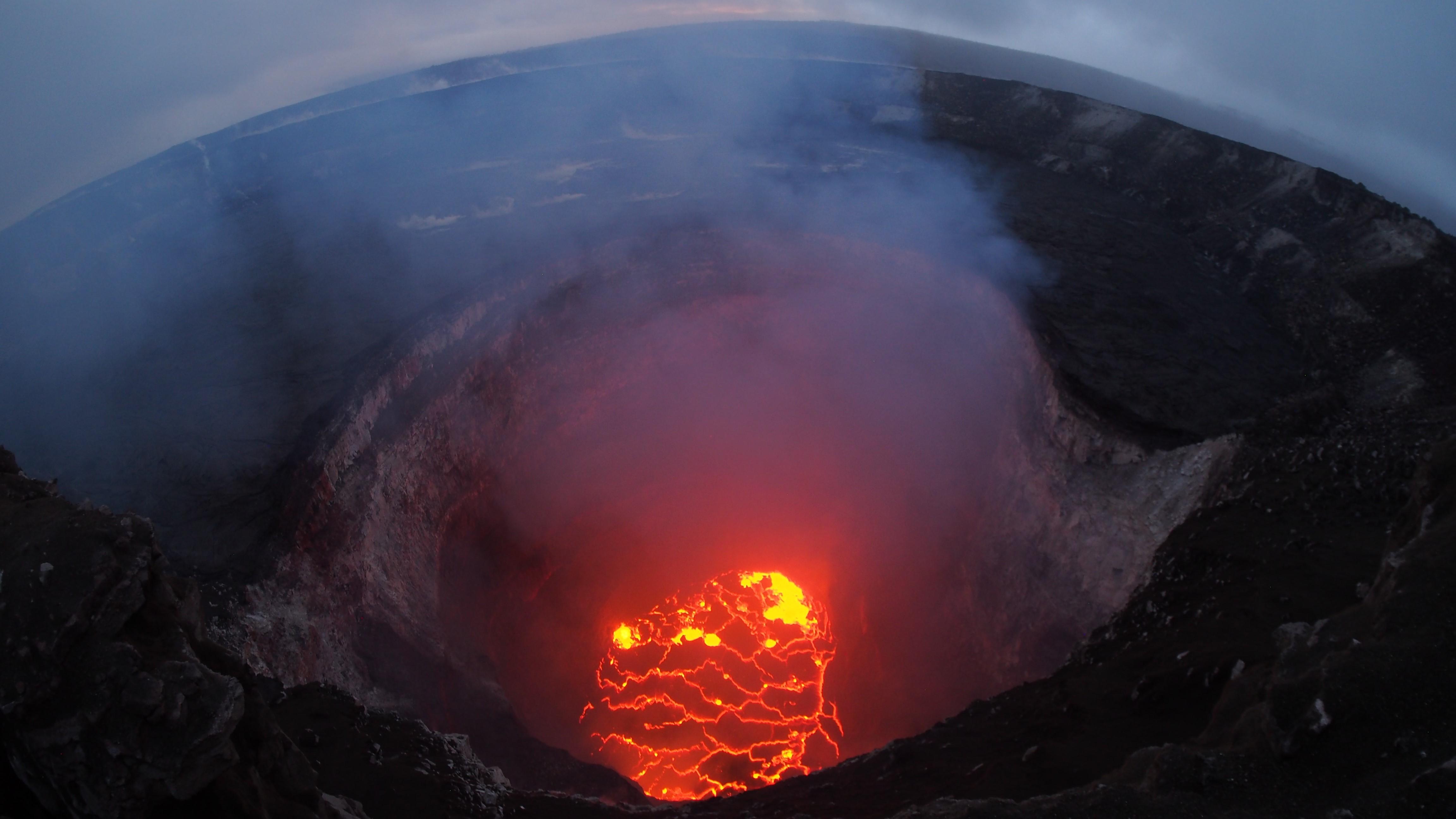 Smoke rises from Kilauea volcano.