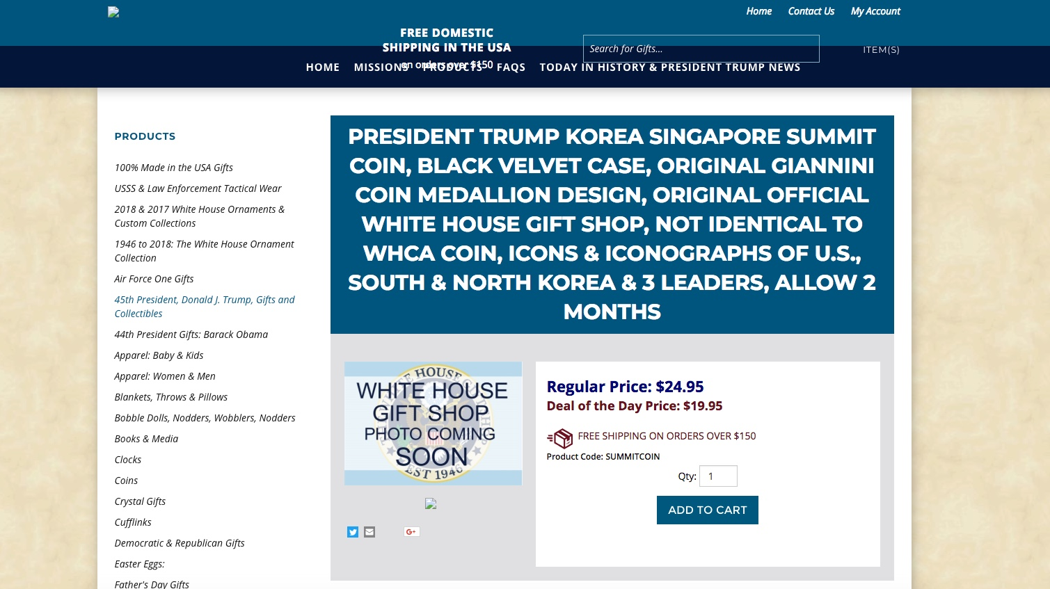 The White House Gift Shop is offering discounts on commemorative coins for the now-canceled North Korea-U.S. summit