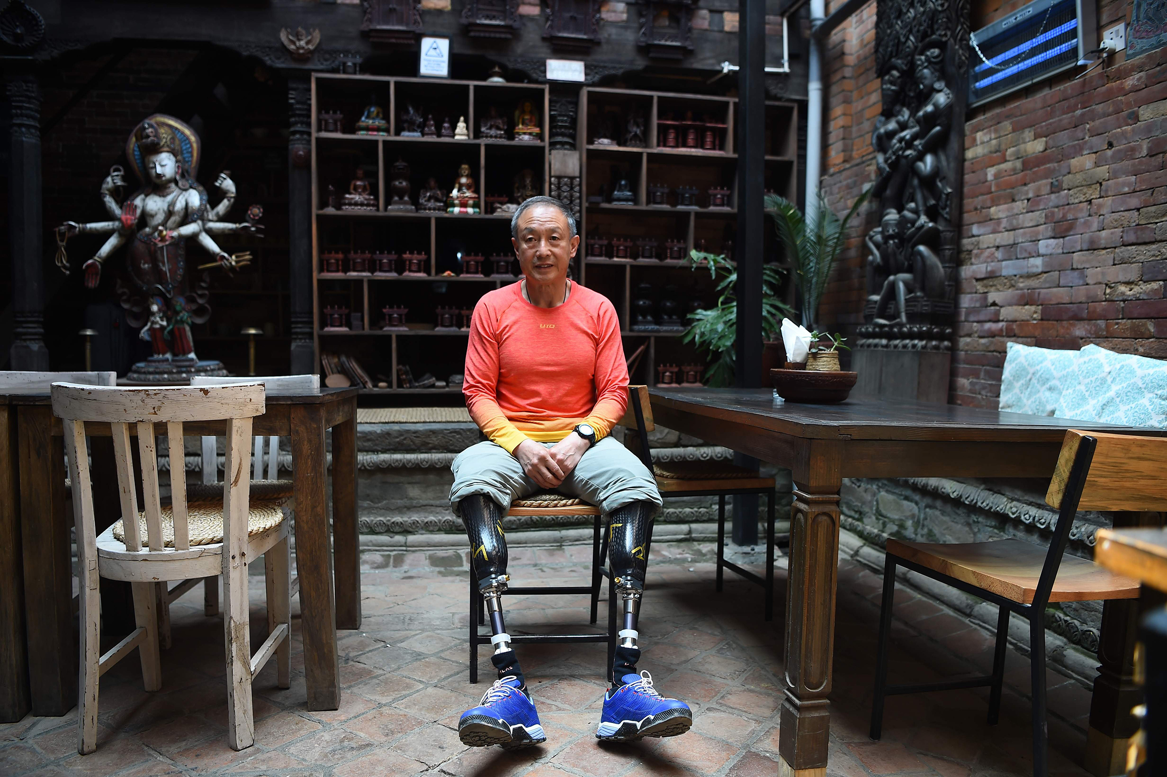 Chinese double amputee climber Xia Boyu, who lost both of his legs during first attempt to climb Everest, in Bhaktapur, Nepal, on April 4, 2018.
