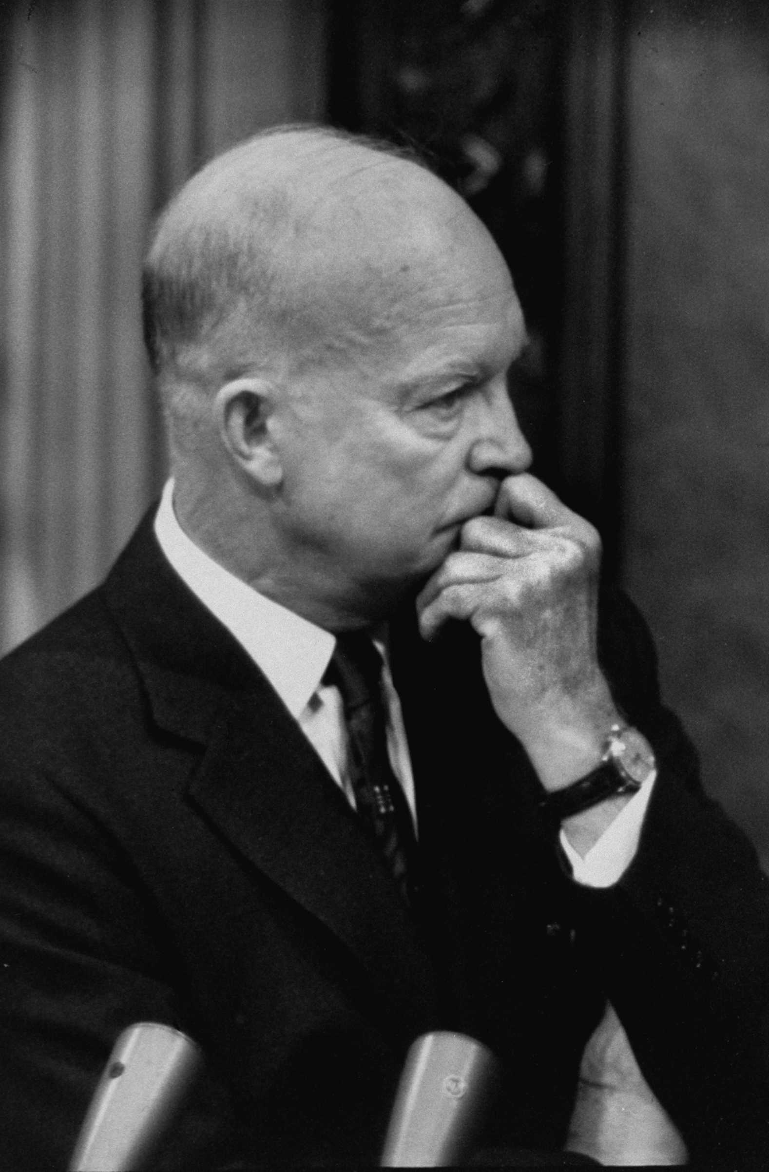President Dwight D. Eisenhower, thinking, in 1953.
