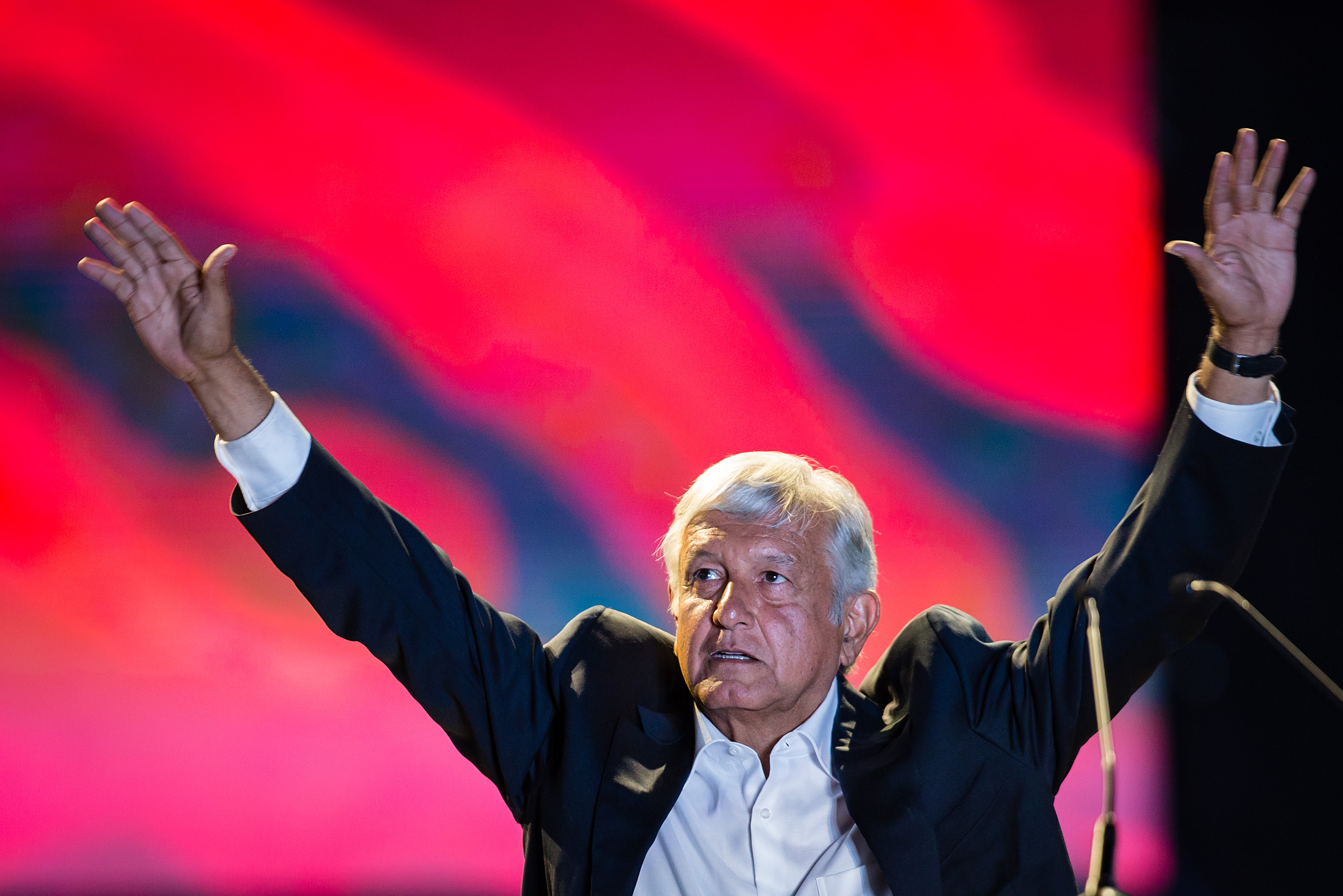Presidential candidate Andres Manuel Lopez Obrador delivers a speech during the final event of the 2018 Presidential Campaign at Azteca Stadium on June 27, 2018 in Mexico City, Mexico.