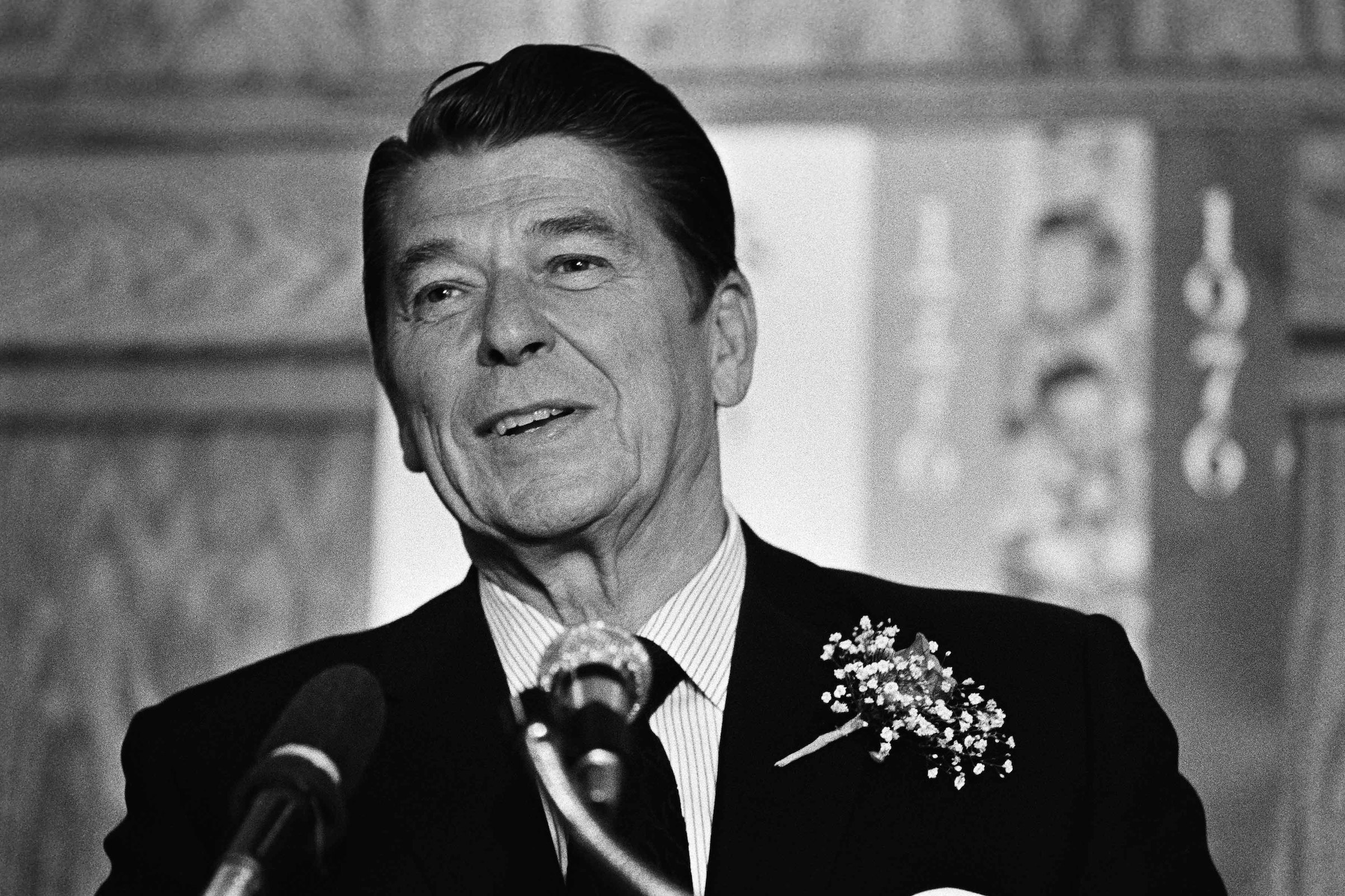 Presidential candidate Ronald Reagan gives a speech to supporters in this 1976 Los Angeles photo