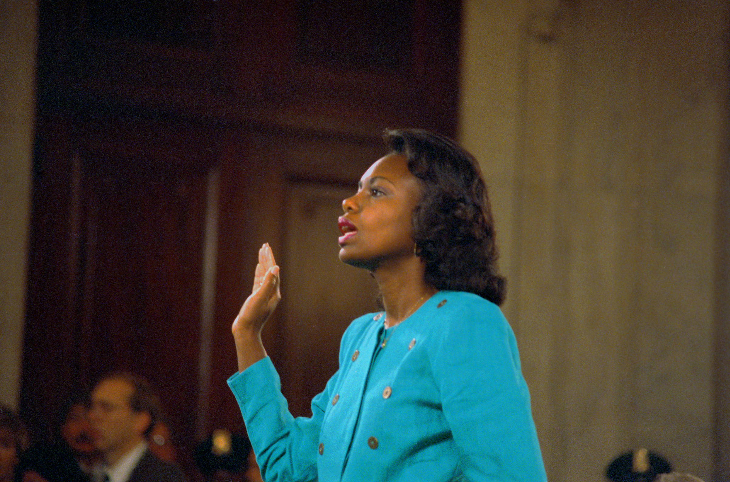 Anita Hill is sworn in before testifying at the Senate Judiciary hearing on the Clarence Thomas Supreme Court nomination in 1991.
