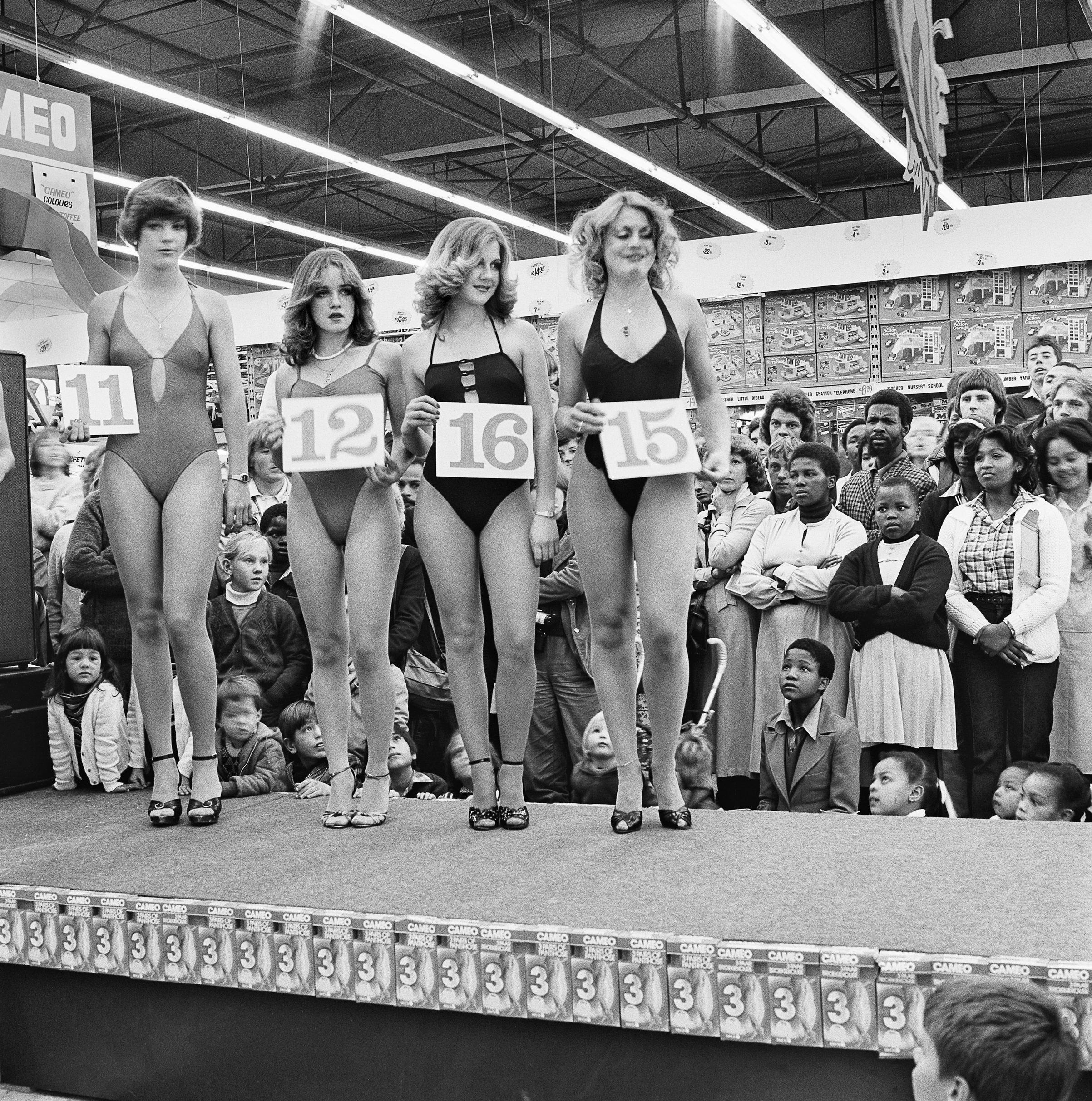 Saturday morning at the Hypermarket: Semi-final of the Miss Lovely Legs Competition. 28 June 1980