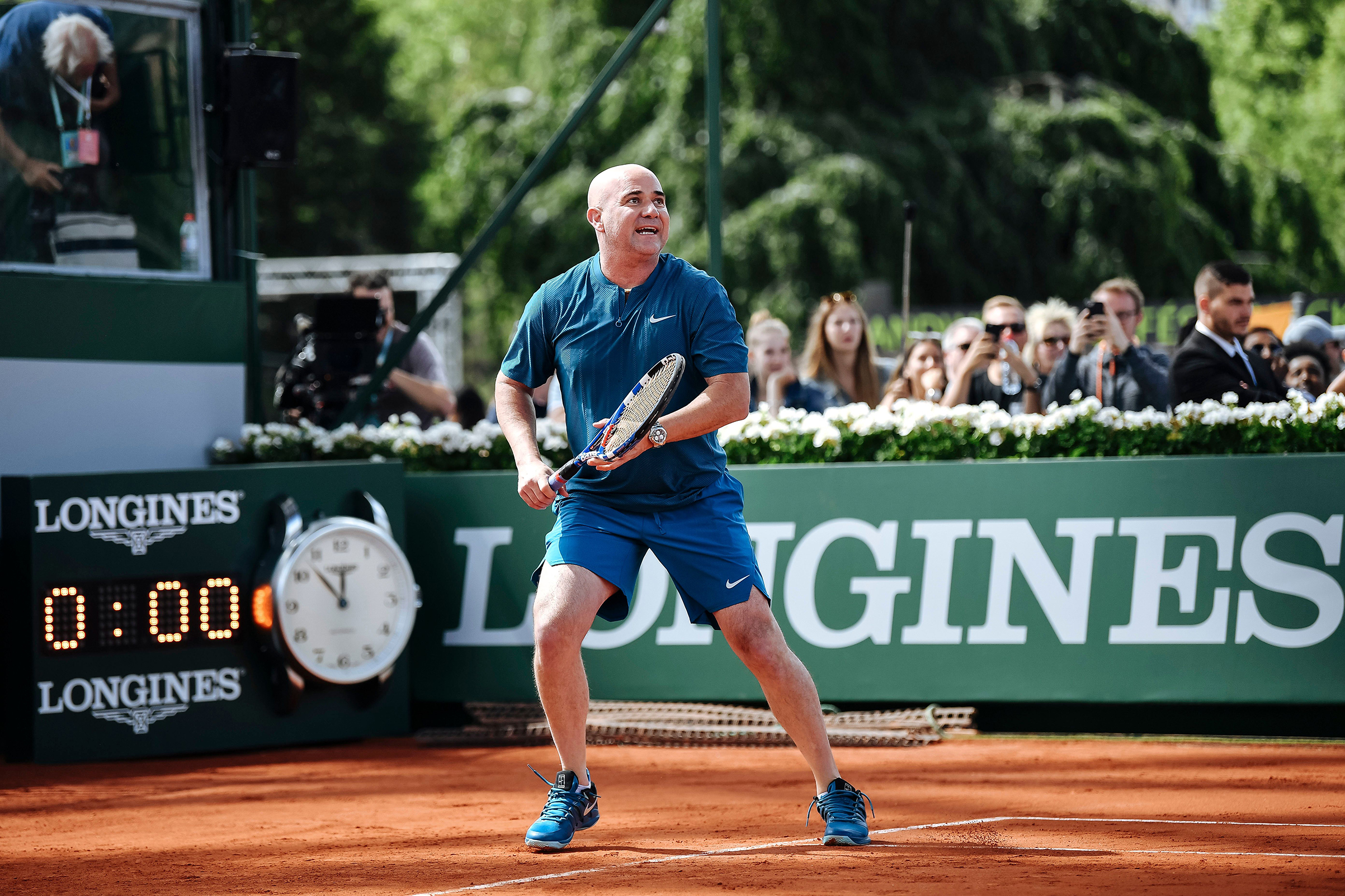 Andre Agassi at the Longines Future Tennis Aces in Paris, France on June 2, 2018.