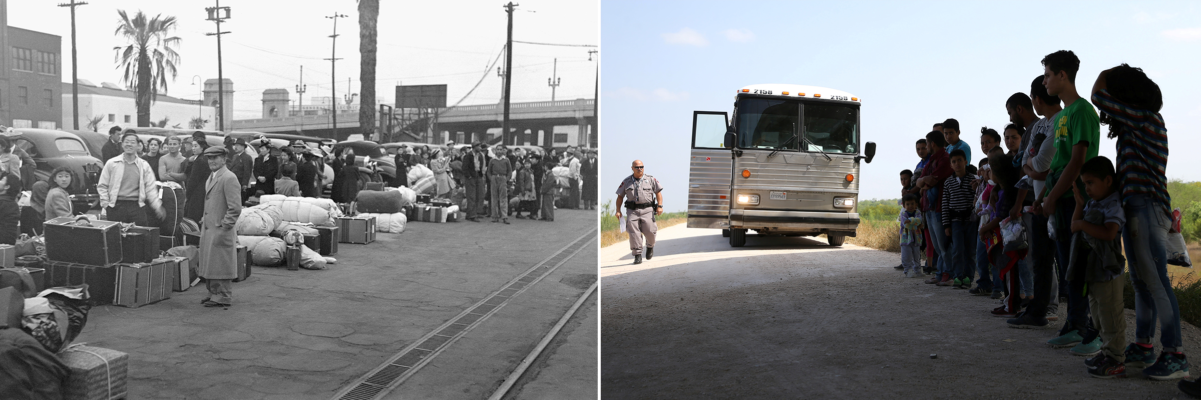 Left: Japanese-Americans in Los Angeles, California, waiting for the train to take them to Owens Valley internment camp in April 1942. Right: Pedestrian travelers wait in a U.S. Customs and Border Protection line at the Mexico-U.S. border port of entry in Hidalgo, Texas, on April 13, 2018.