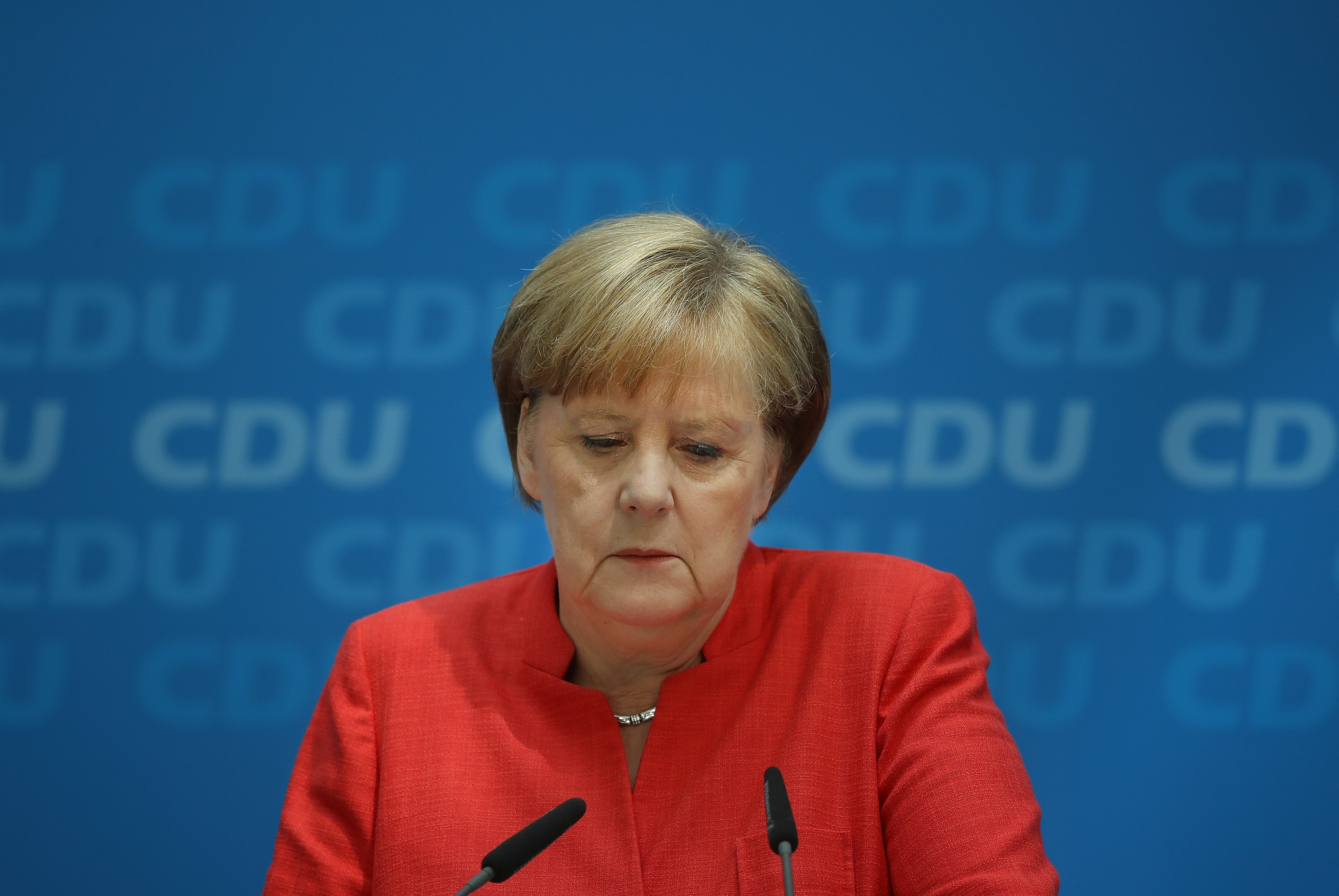JUNE 18: German Chancellor Angela Merkel, who has been locked a feud with German Interior Minister Horst Seehofer over asylum and migration policy.