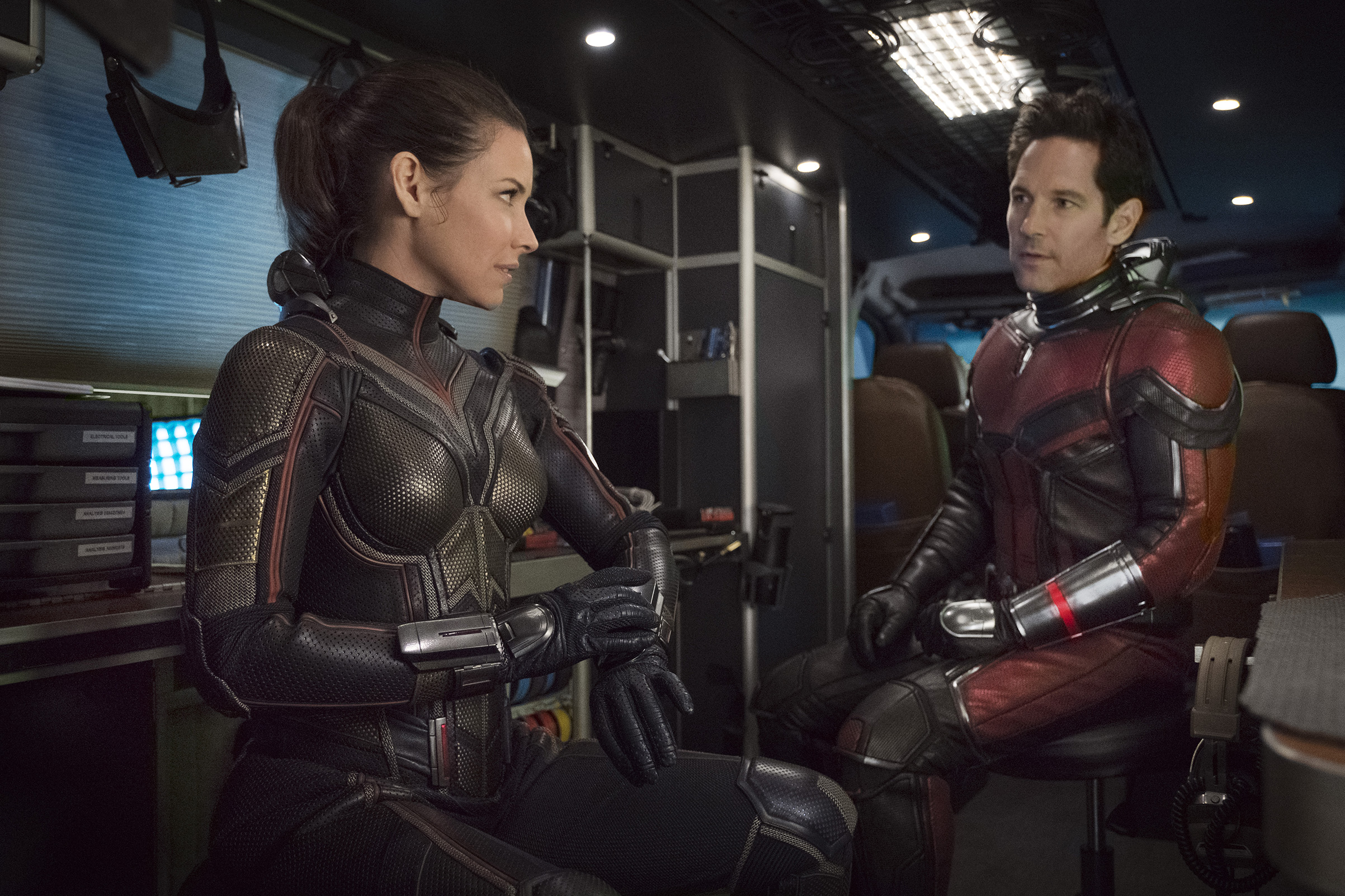 "Paul Rudd and Evangeline Lilly in ""Ant-Man and the Wasp""."