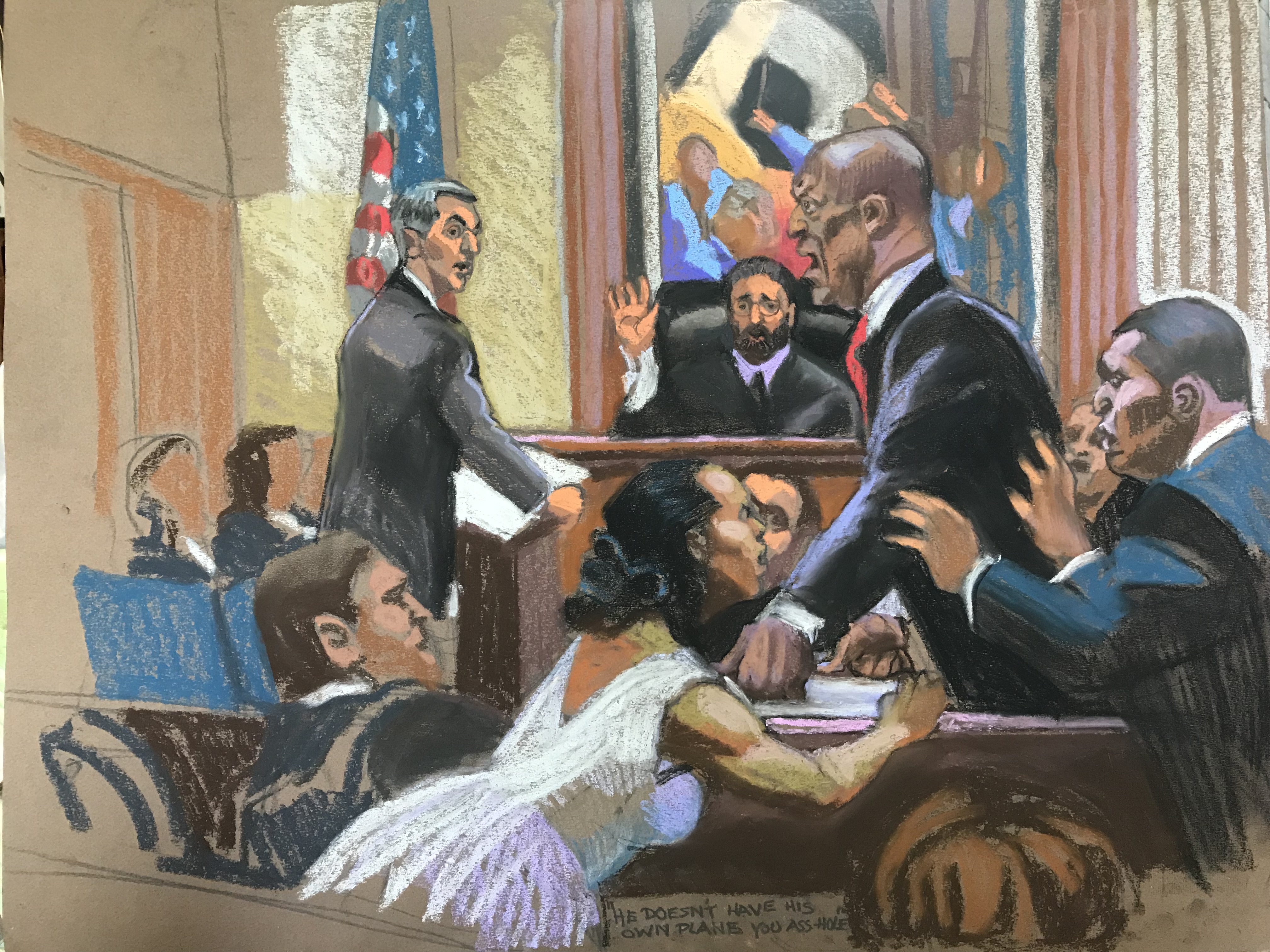 Christine Cornell's sketch of Bill Cosby in court in April.