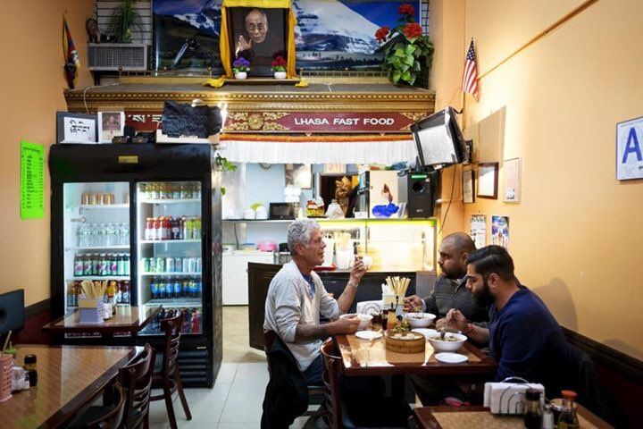 Ali Najmi chats with Anthony Bourdain in Jackson Heights while eating Tibetan food for an episode of his show  Parts Unknown  in the New York City borough of Queens