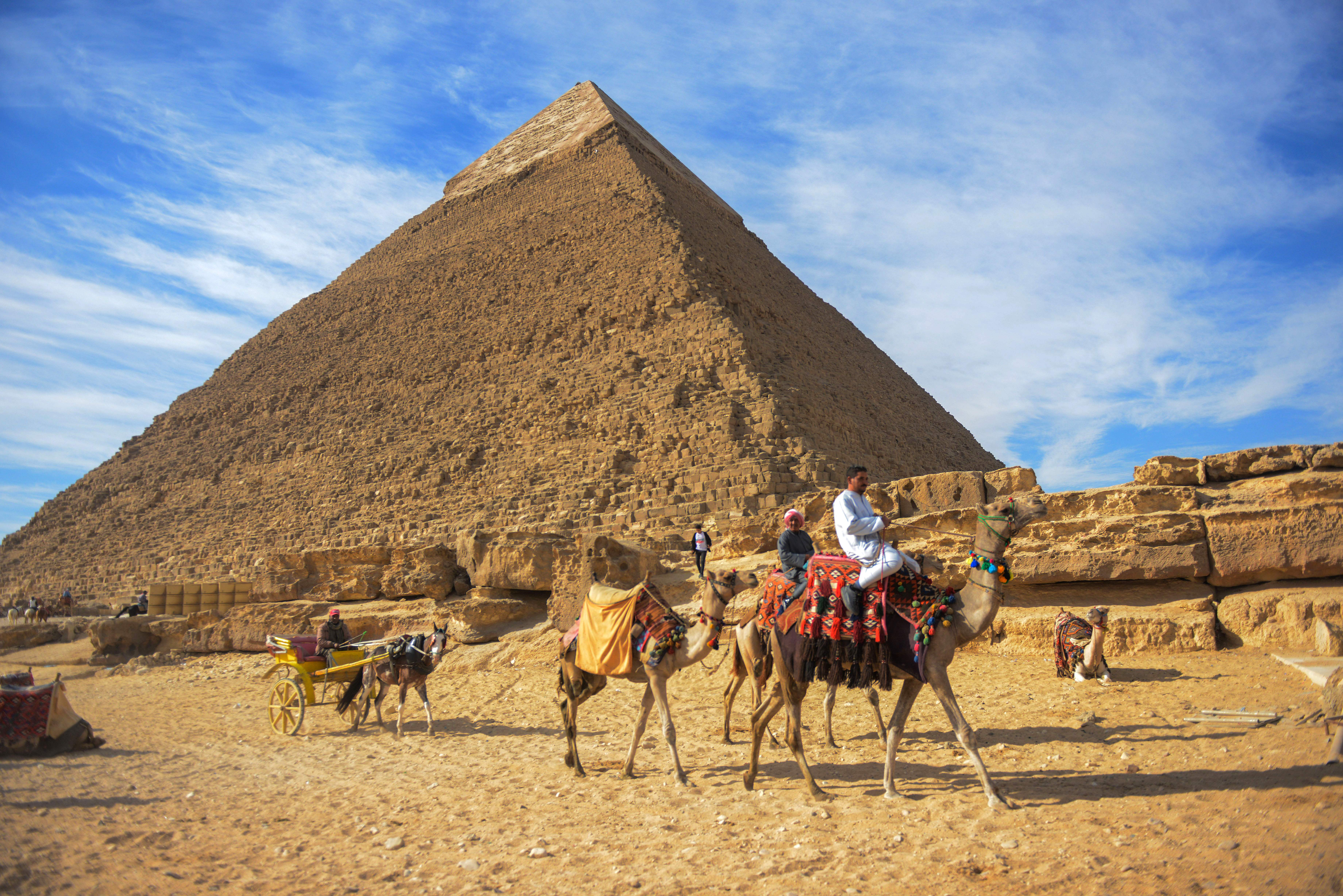A picture taken on December 6, 2017 shows a view of the pyramid of Khafre on the Giza Plateau.
