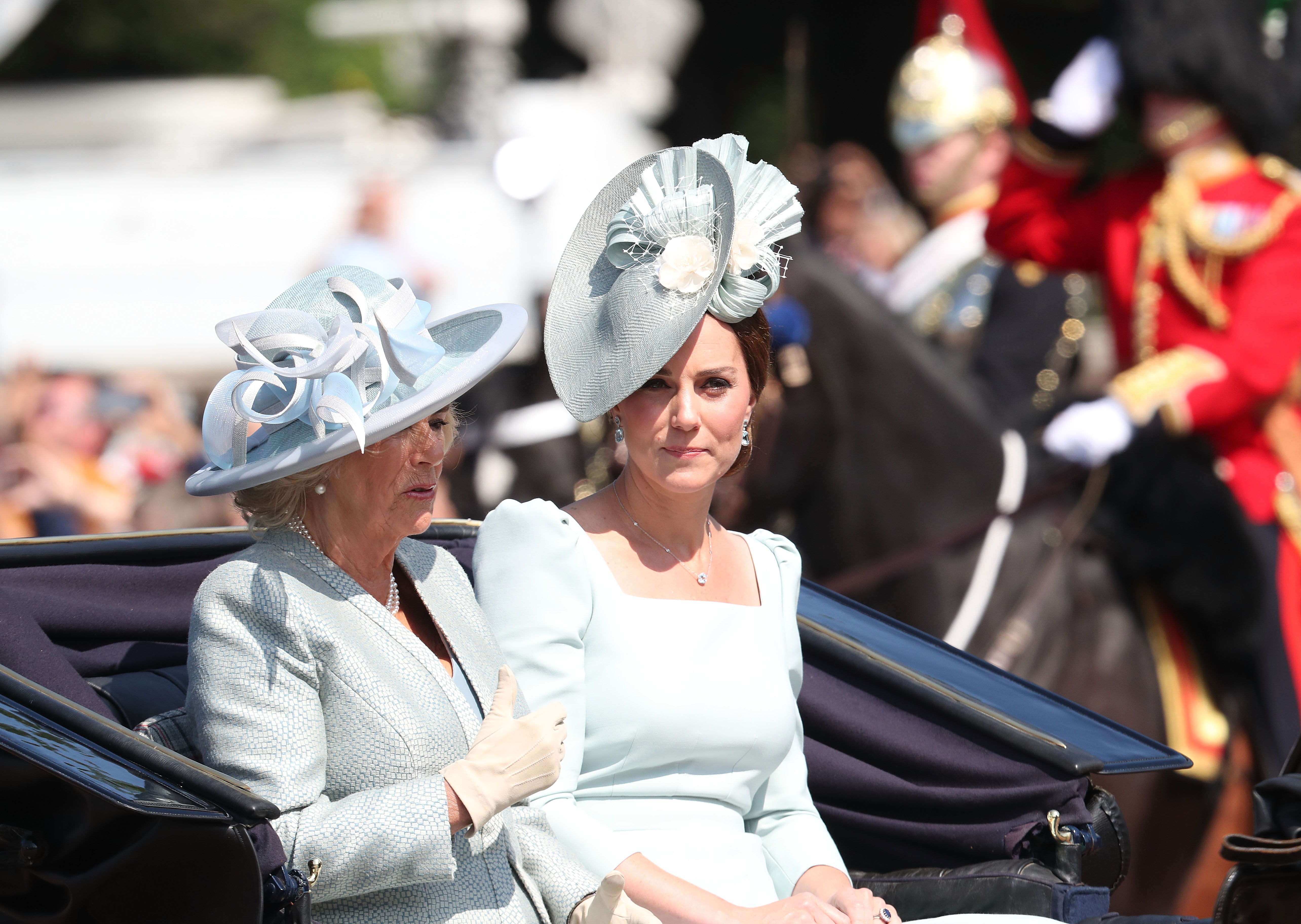 Camilla, Duchess Of Cornwall, and Kate Middleton, Duchess of Cambridge, during Trooping the Colour on the Mall on June 9, 2018 in London, England