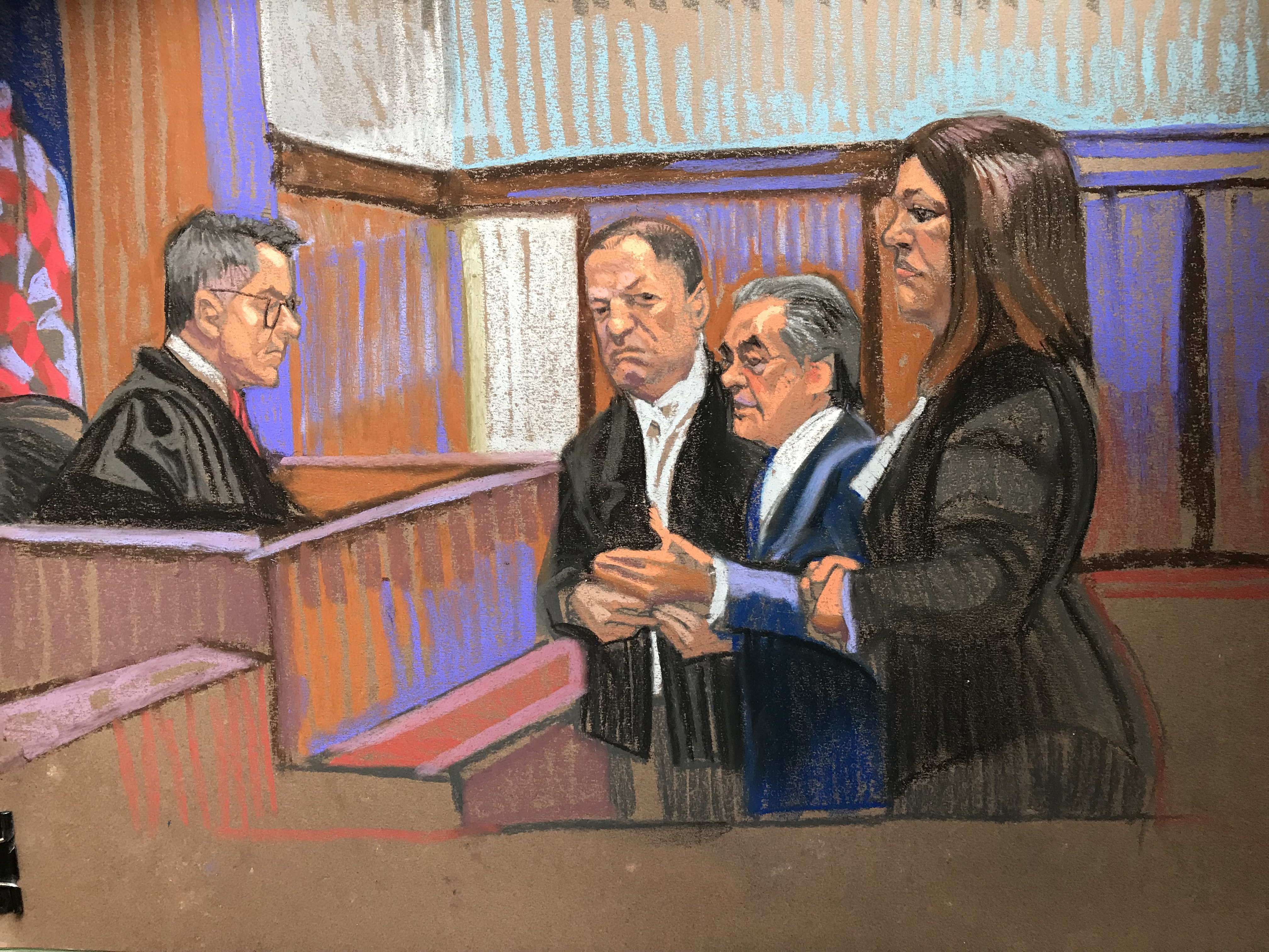 Courtroom sketch artist Christine Cornell captures disgraced film producer Harvey Weinstein in court on Tuesday, June 5.