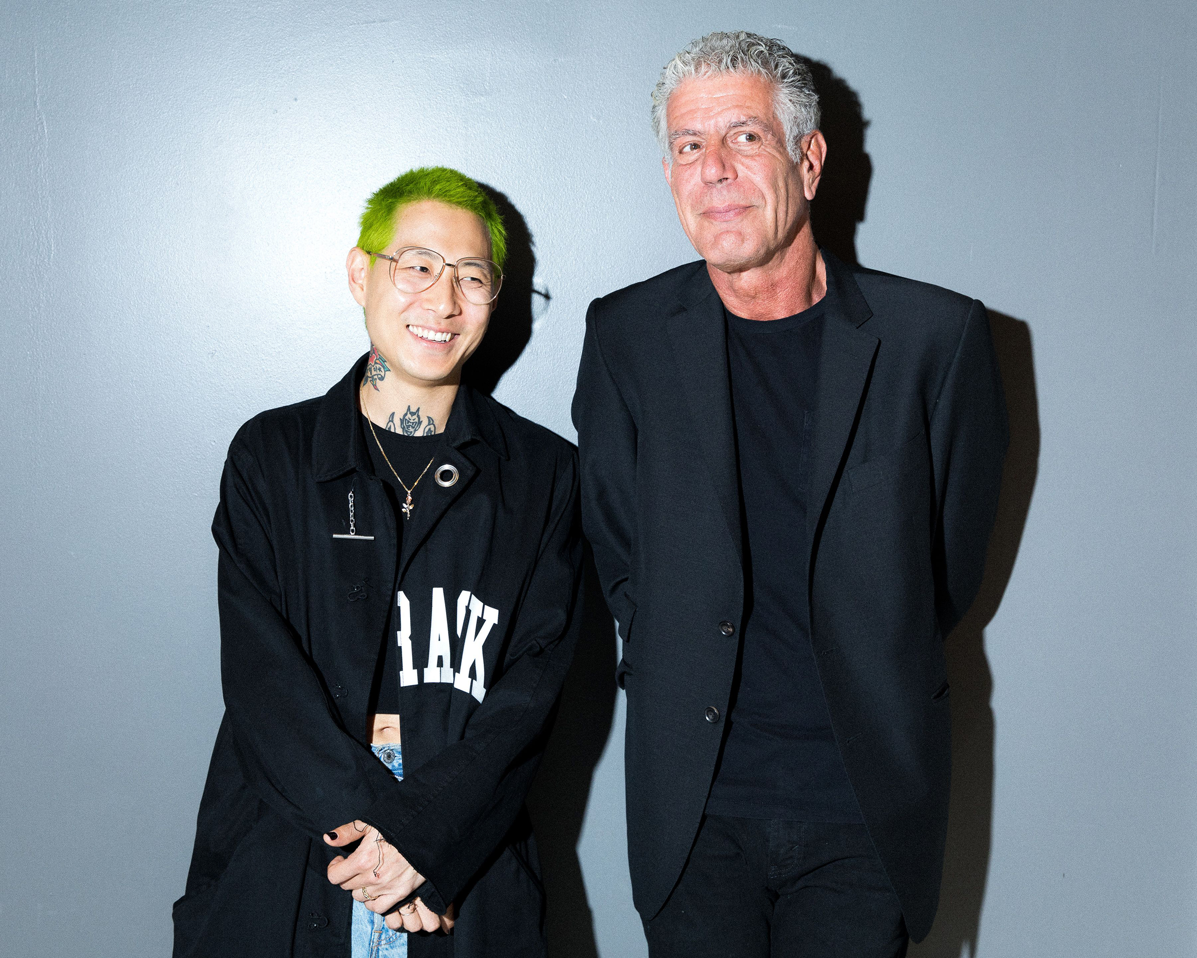 Bowien and Bourdain in October 2017.