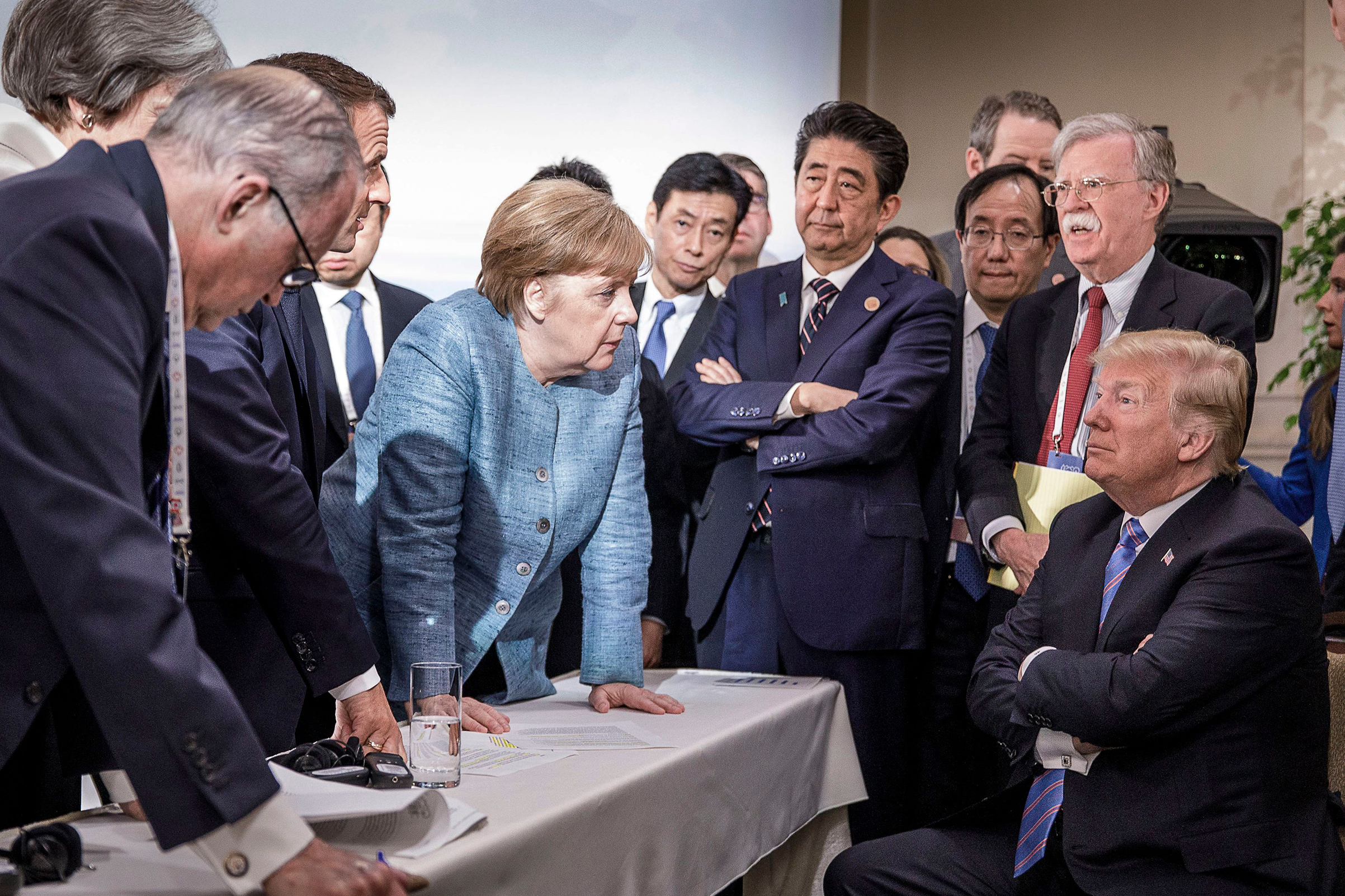 A handout photograph from the German government shows a group of leaders at the Group of Seven summit, including German Chancellor Angela Merkel and President Trump, in Canada on June 9, 2018.