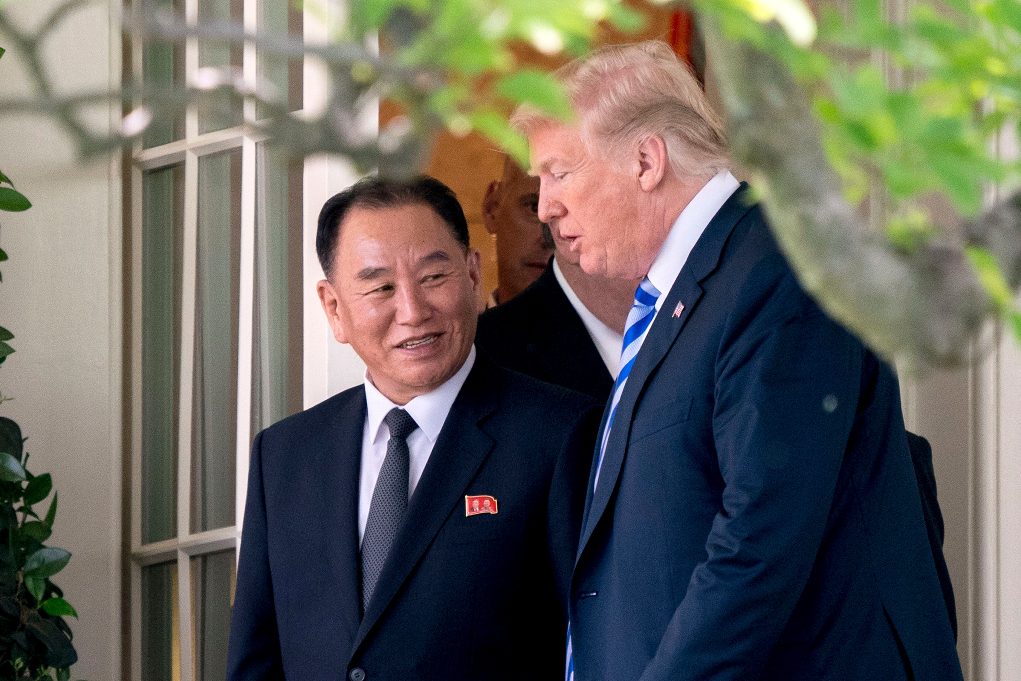 President Donald Trump talks with Kim Yong Chol, one of Kim Jong Un's closest aides, at the White House in Washington, DC on June 1, 2018.