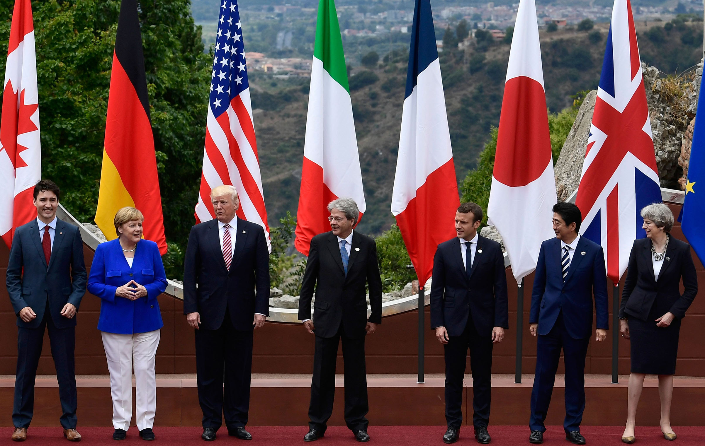 U.S. allies at the 2017 G-7 summit in Sicily; this year's meeting could be more awkward