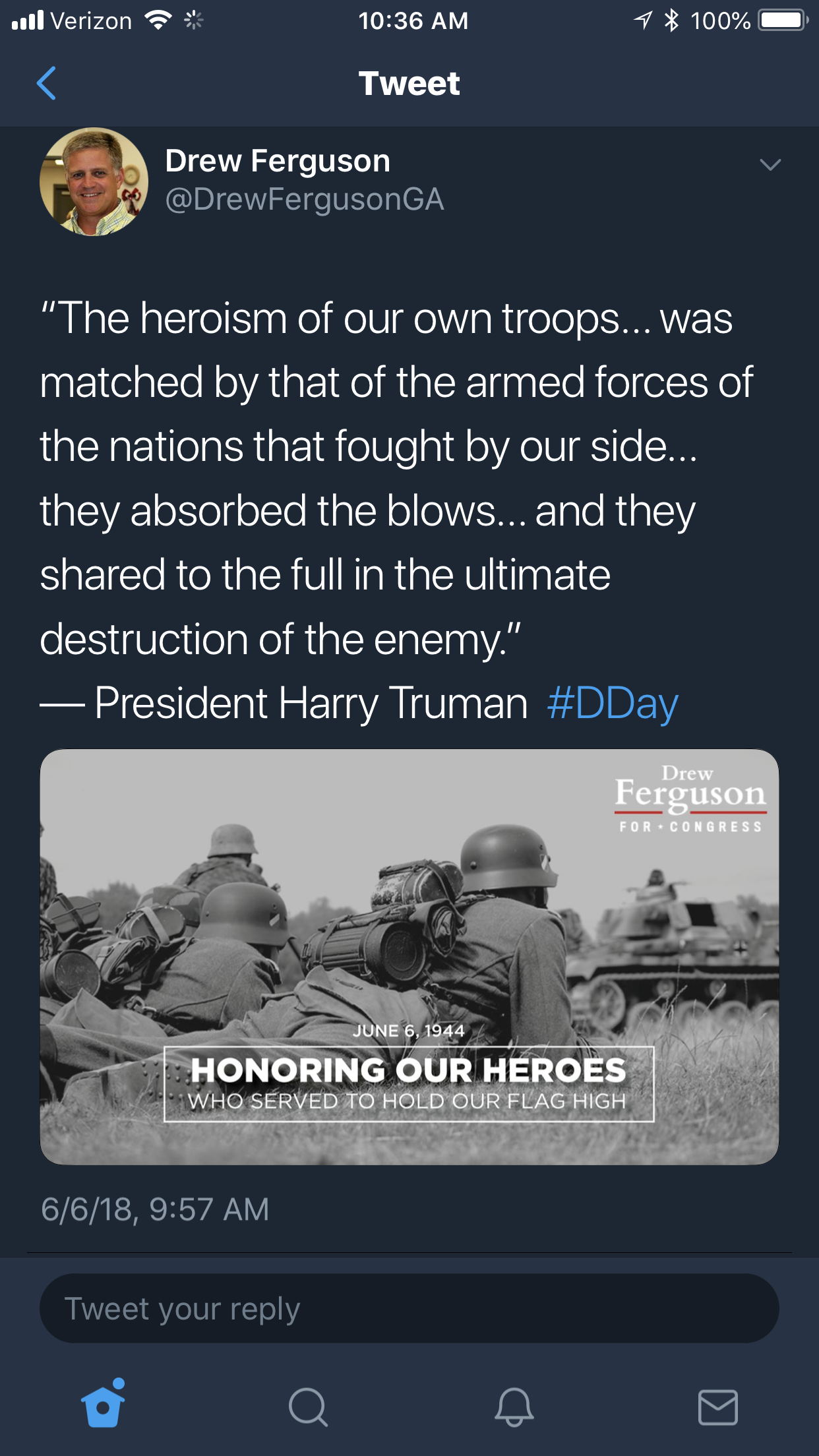 Rep. Drew Ferguson's campaign Twitter page posted this tribute to D-Day with an image of German soldiers