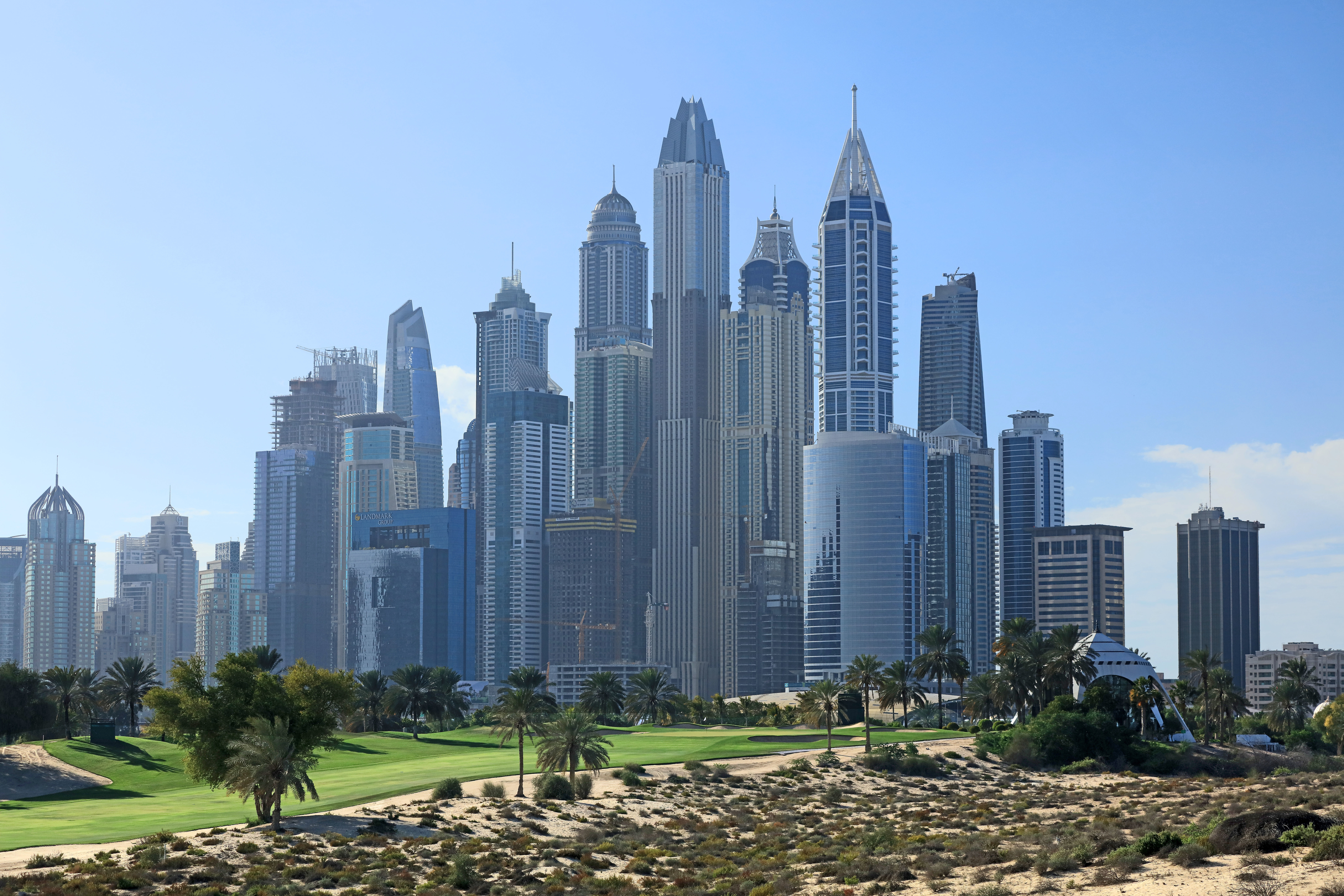 he Majlis Course with the skyline of the Dubai Marina behind at The Emirates Golf Club on January 31, 2018.