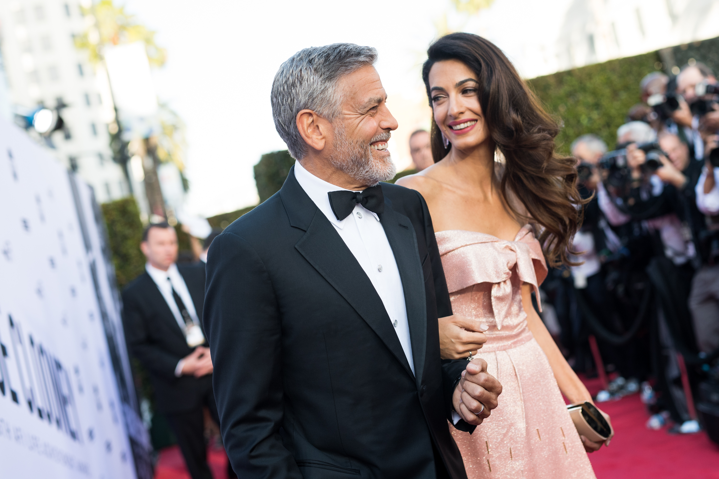 Amal Clooney and George Clooney attend the American Film Institute's 46th Life Achievement Award Gala Tribute to George Clooney at Dolby Theatre on June 7, 2018 in Hollywood, California.