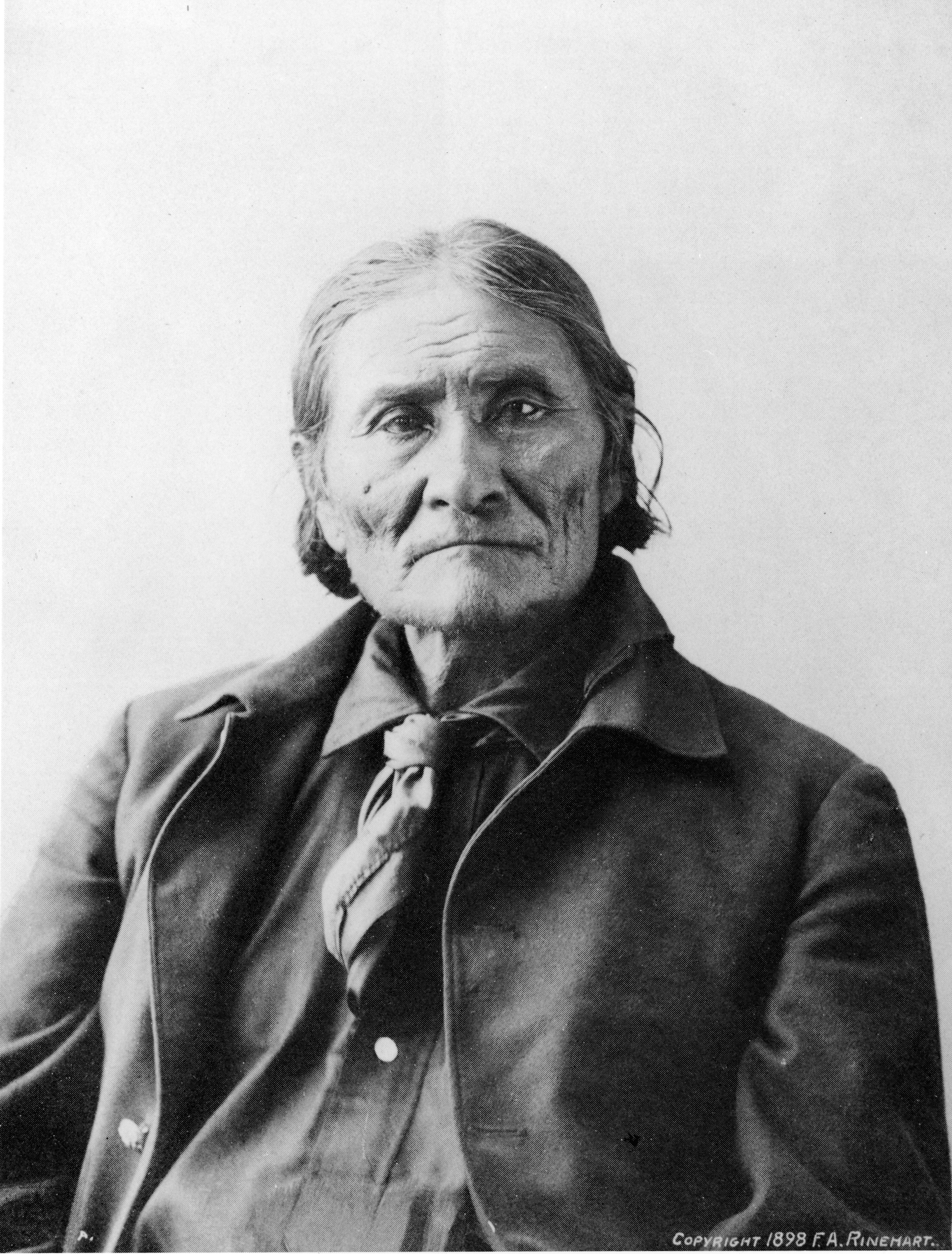 Portrait of Native American Indian chief Geronimo (1829 - 1909), 1890s.