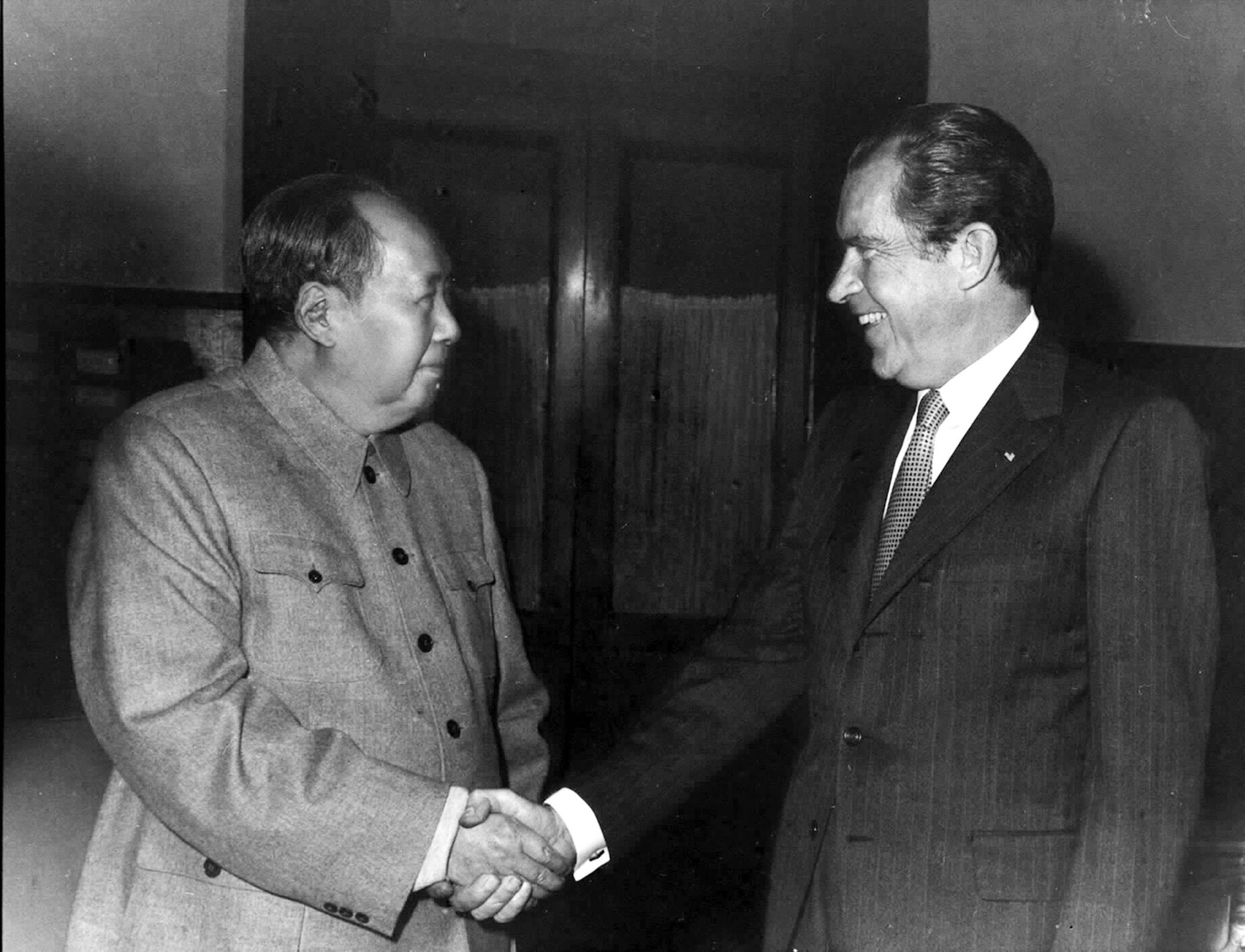 Chairman Mao Zedong meets U.S. President Nixon in Beijing on Feb. 21, 1972.