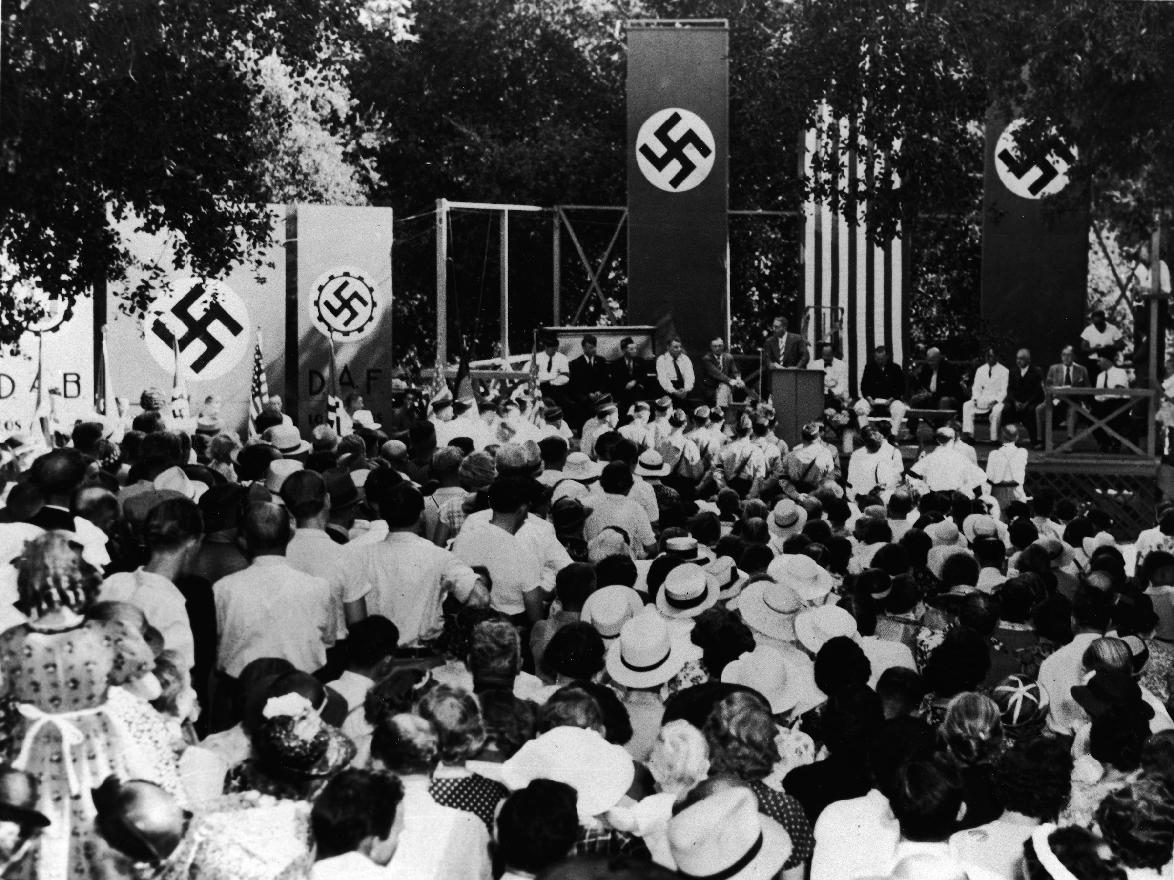 At a pro-Nazi gathering in Los Angeles in 1937, German-Americans listen to speakers who deny that American Nazi representatives were engaged in subversive activities against the United States.