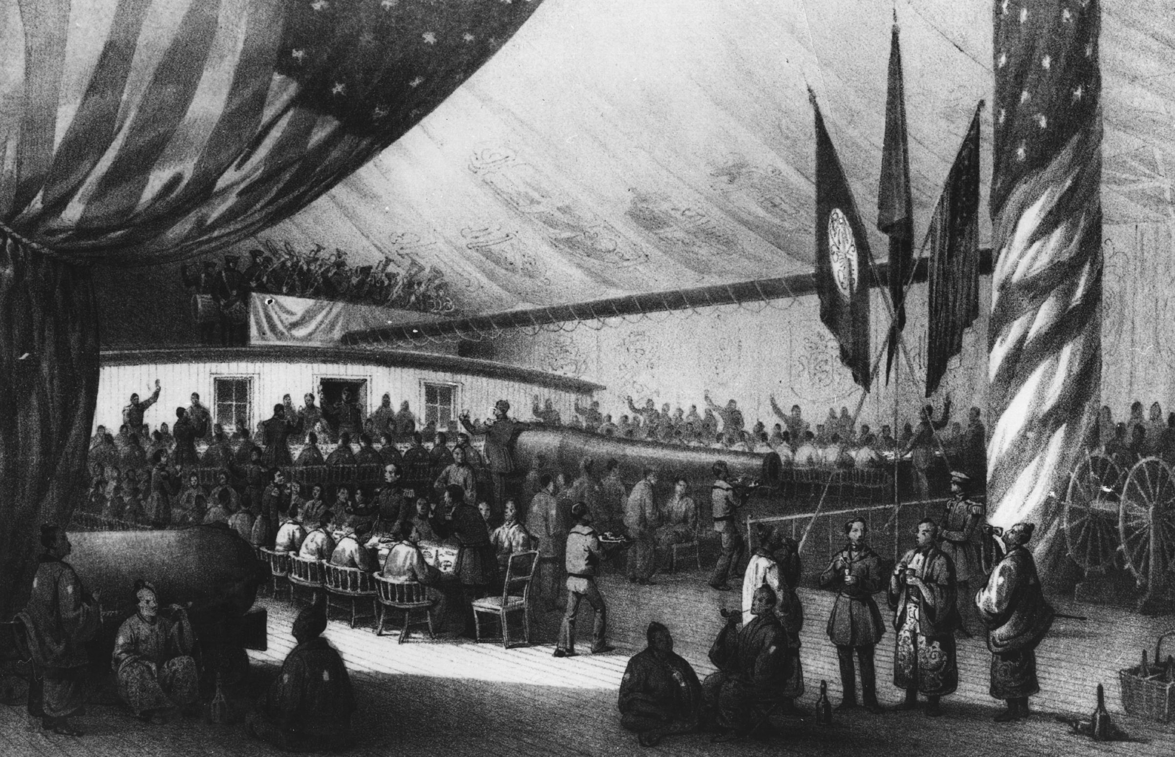 circa 1853: illustration of a dinner given in honor of the Japanese Commissioner on board the USSF Powhatan, during the naval expedition led by the US naval officer Matthew Galbraith Perry (1794 - 1858).