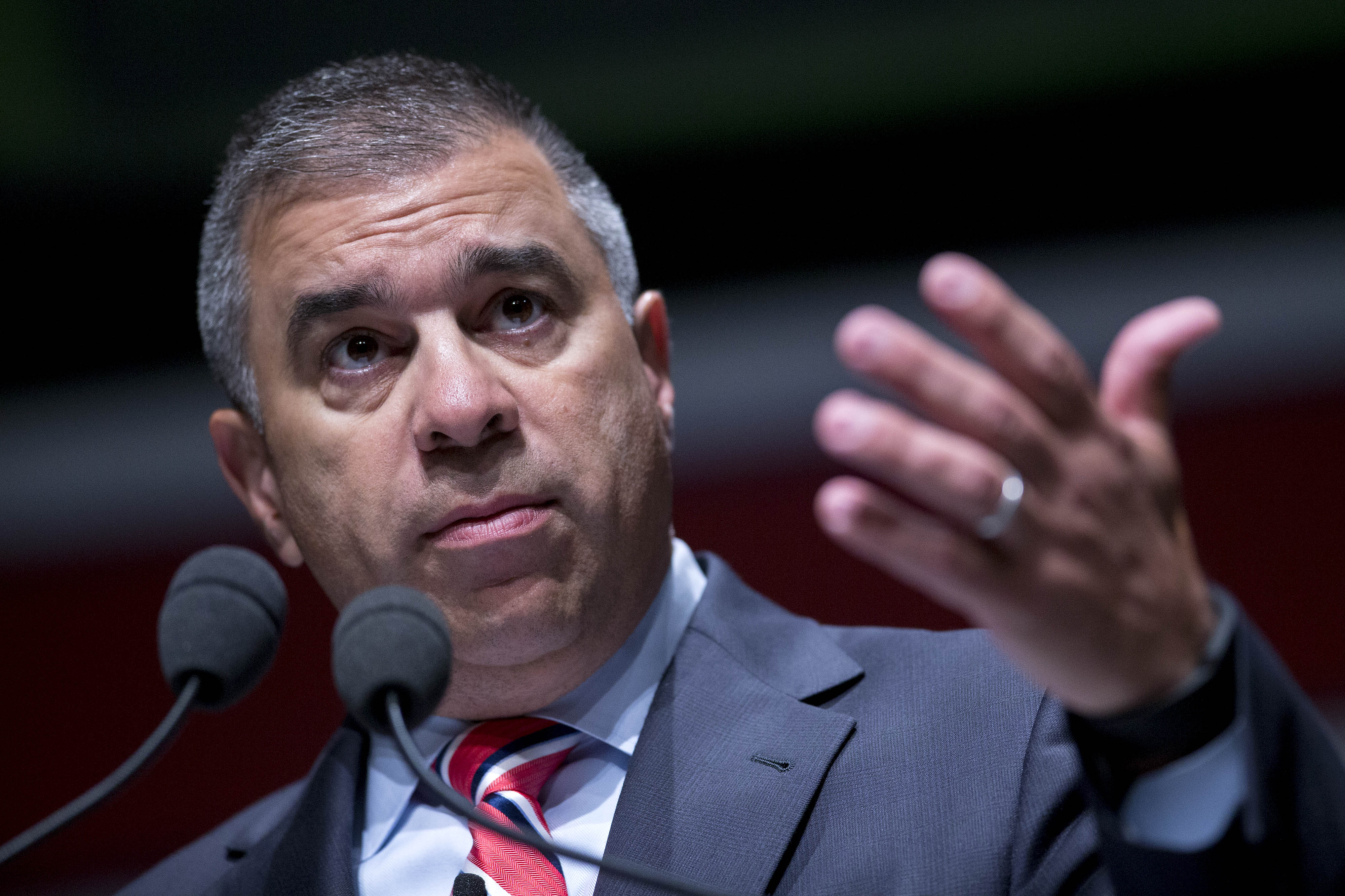 David Bossie, president of Citizens United, gestures during South Carolina Freedom Summit hosted by Citizens United and Congressman Jeff Duncan in Greenville, South Carolina, U.S., on May 9, 2015.
