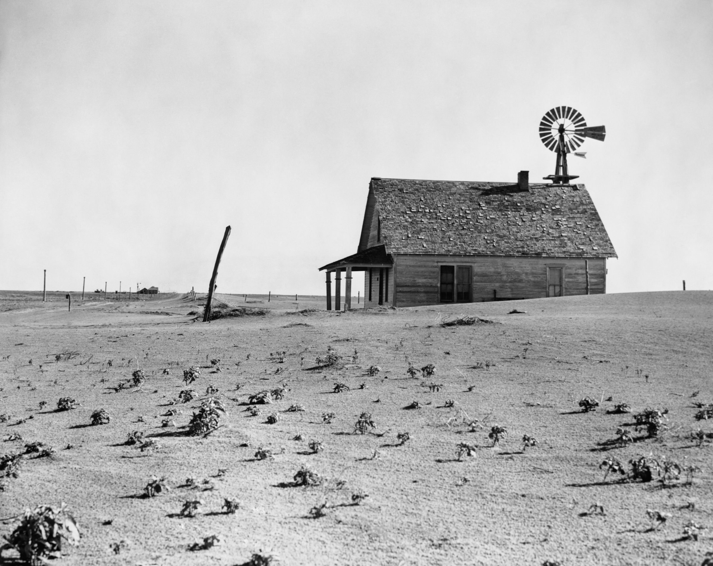 An abandoned farm house in Texas in the late 1930s.