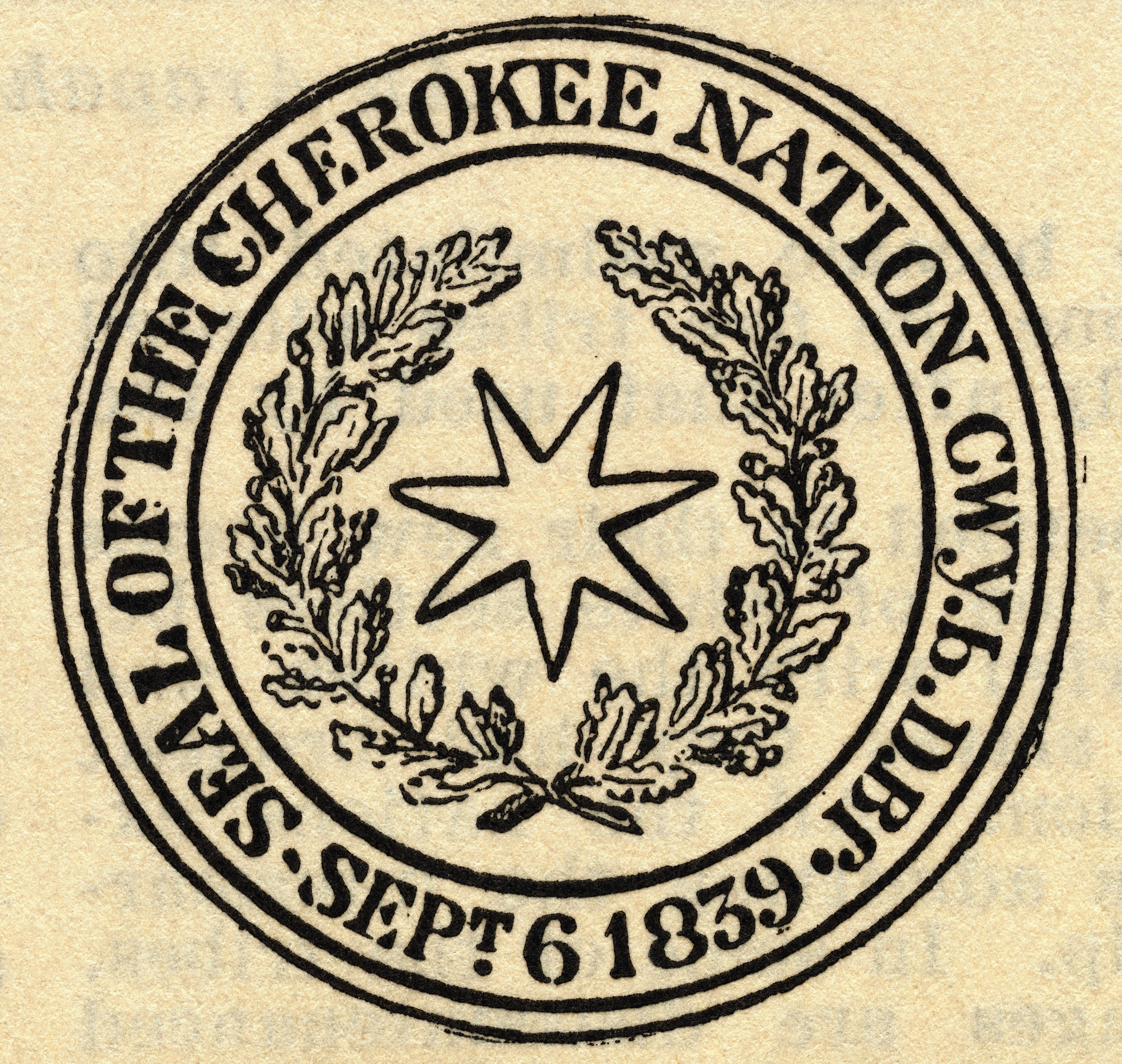 Seal of the Cherokee Nation in 1839