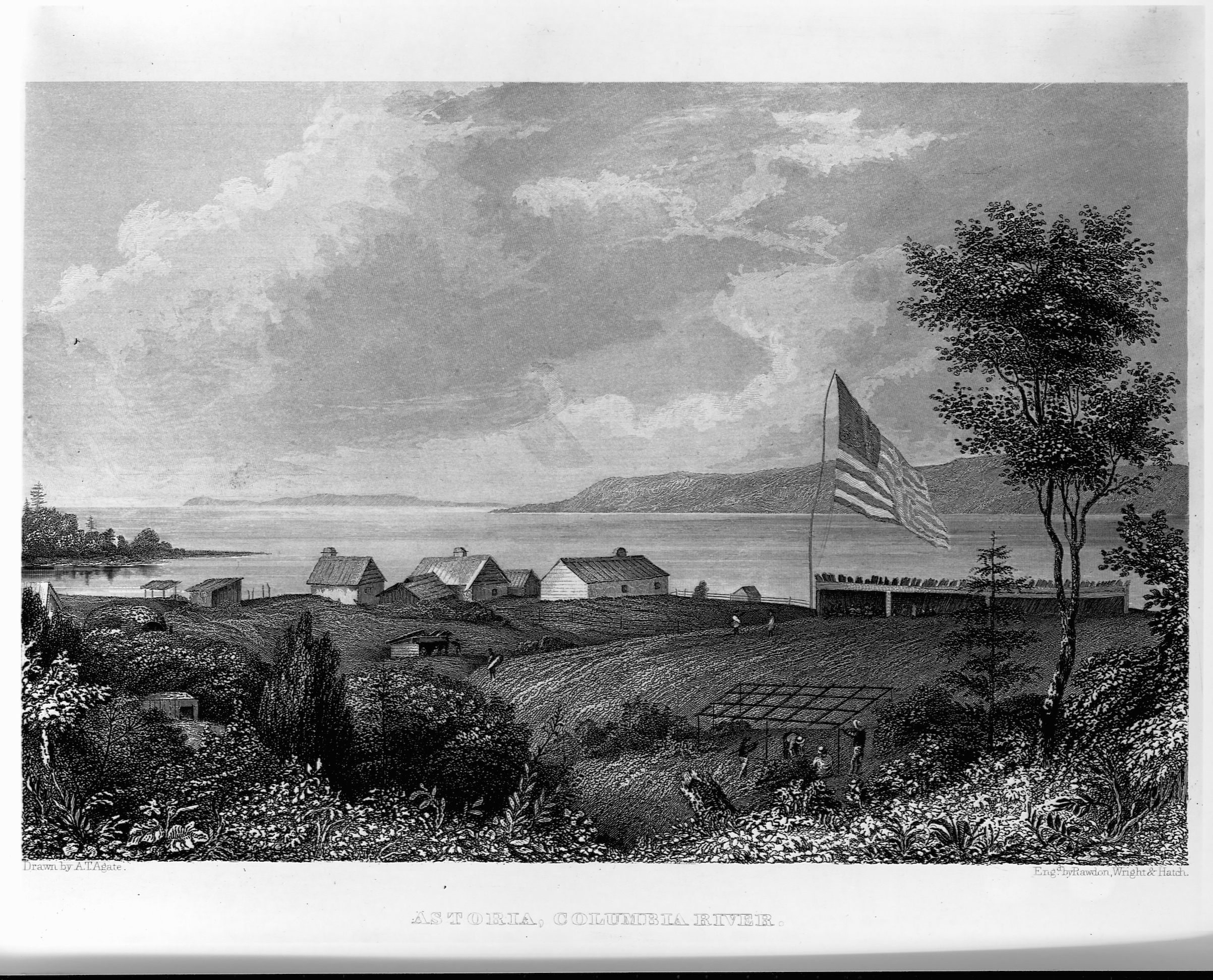 The small settlement of Astoria, Oregon, on the Columbia River, in the 1840s shortly after it was returned to U.S. control from the British, in an engraving appearing in Charles Wilkes' Narrative of the United States Exploring Expedition.