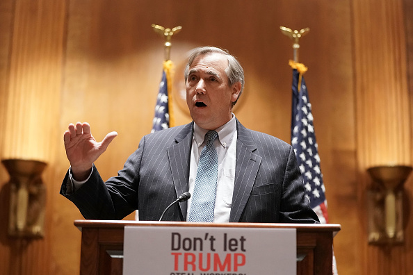 U.S. Sen. Jeff Merkley (D-OR) speaks during a news briefing December 12, 2017 on Capitol Hill in Washington, DC.