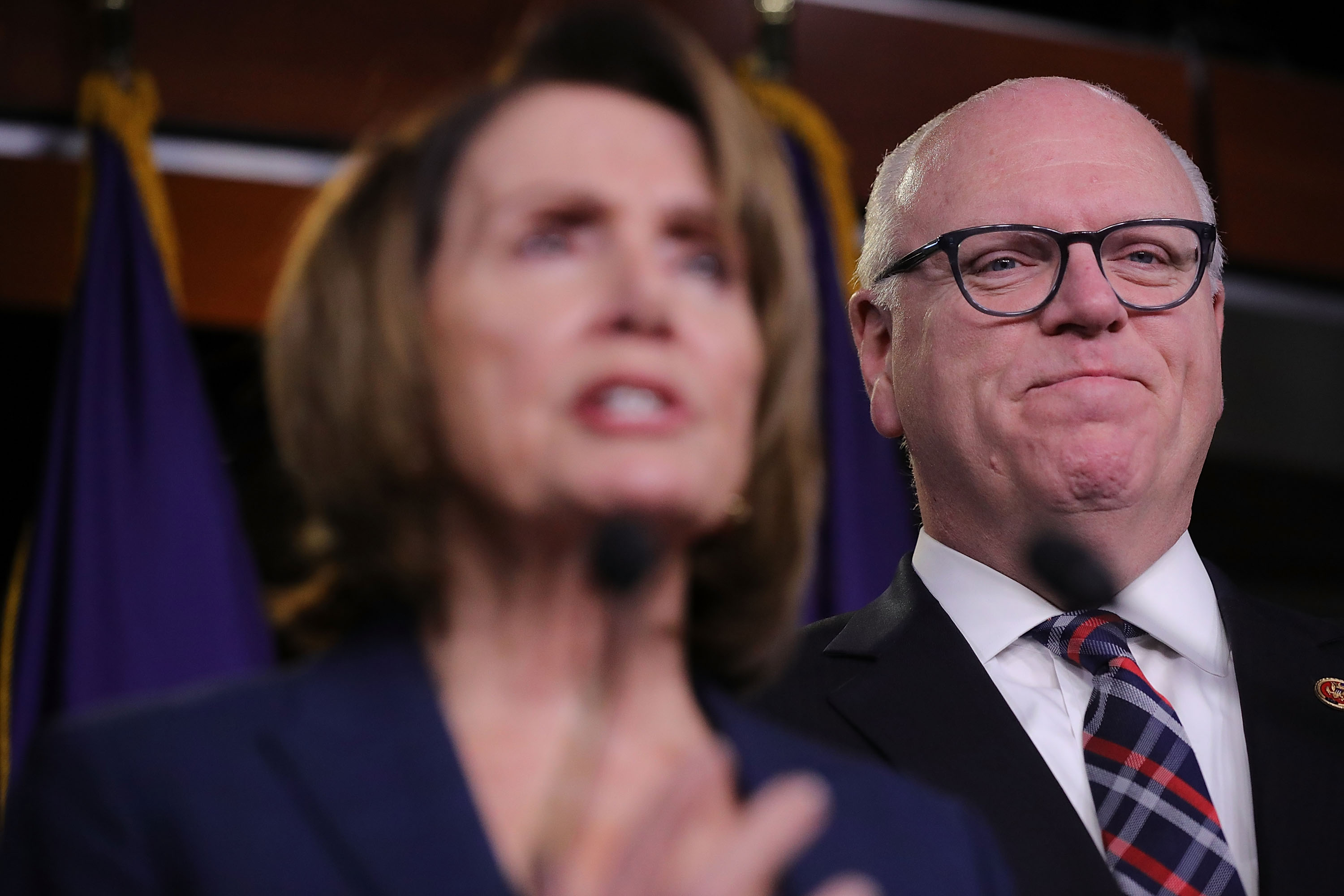 Rep. Joseph Crowley and House Minority Leader Nancy Pelosi following a meeting of the House Democratic caucus at the U.S. Capitol in Washington, D.C., on Jan. 31, 2018.