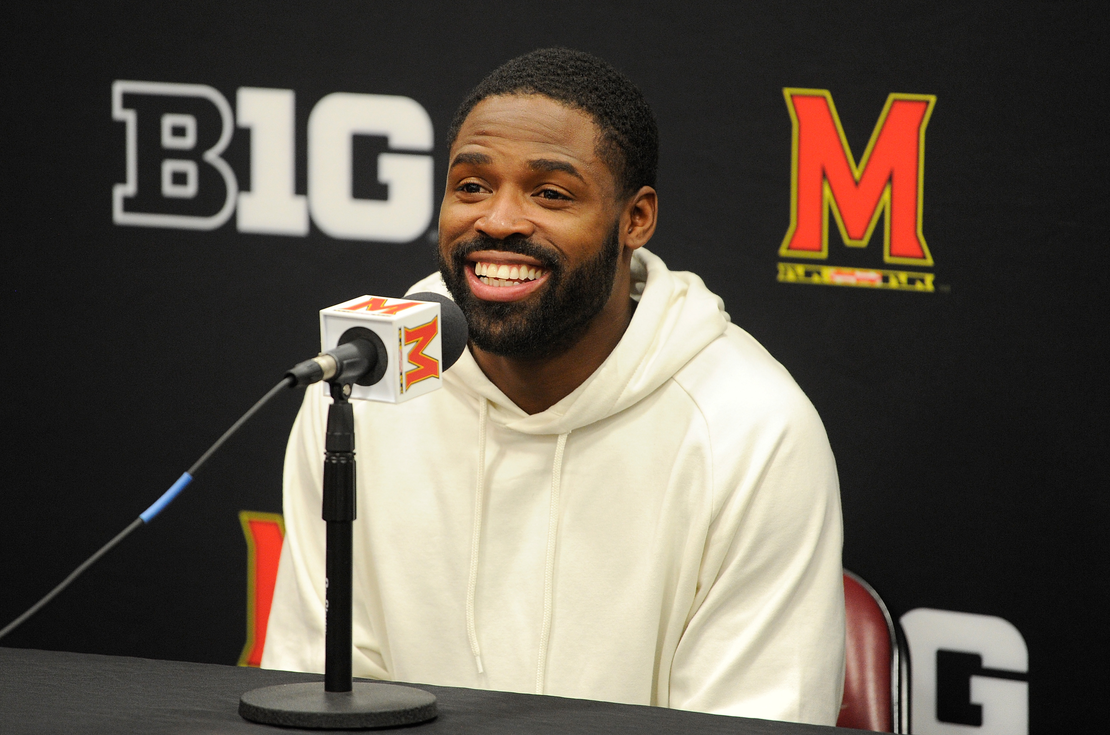 Torrey Smith talks to the media before the game between the Maryland Terrapins and the Michigan Wolverines at Xfinity Center in College Park, Maryland on Feb. 24, 2018.