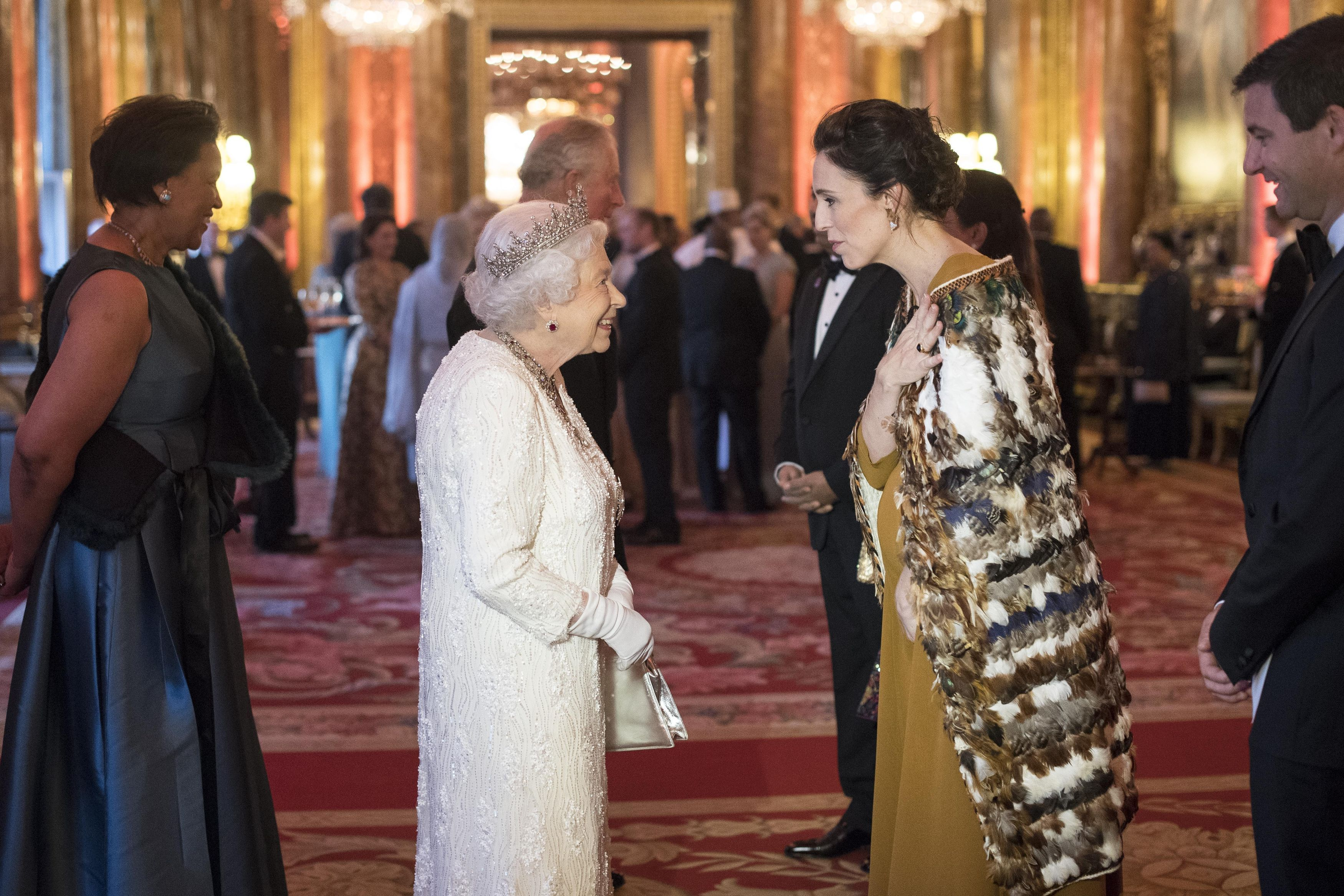Queen Elizabeth II greets Jacinda Ardern, Prime Minister of New Zealand at during the Commonwealth Heads of Government Meeting at Buckingham Palace on April 19, 2018 in London, England.
