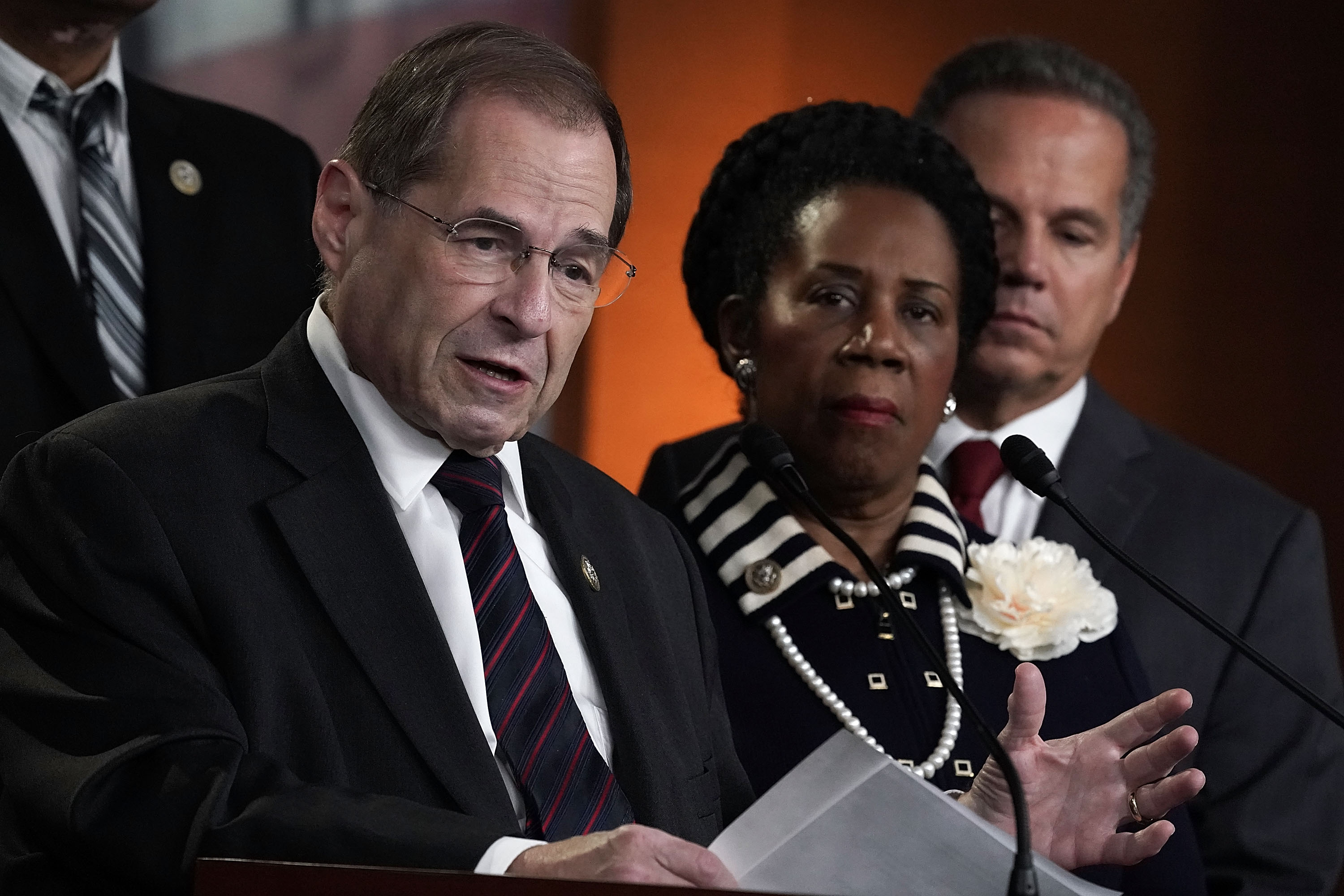 U.S. Rep. Jerrold Nadler (D-NY) (L) speaks as Rep. Sheila Jackson Lee (D-TX) (2nd L) and Rep. David Ciclline (D-RI) (R) listen during a news conference to denounce a meeting between the Justice Department and FBI officials and Rep. Devin Nunes (R-CA) and Rep. Trey Gowdy (R-SC) May 24, 2018 on Capitol Hill in Washington, DC. The White House is arranging two separate meetings, one for House Republicans only and one for bipartisan House and Senate leaders known as the Gang of Eight, to review classified information related to the Russia investigation including the informant the FBI had sent to talk to Trump Campaign advisers