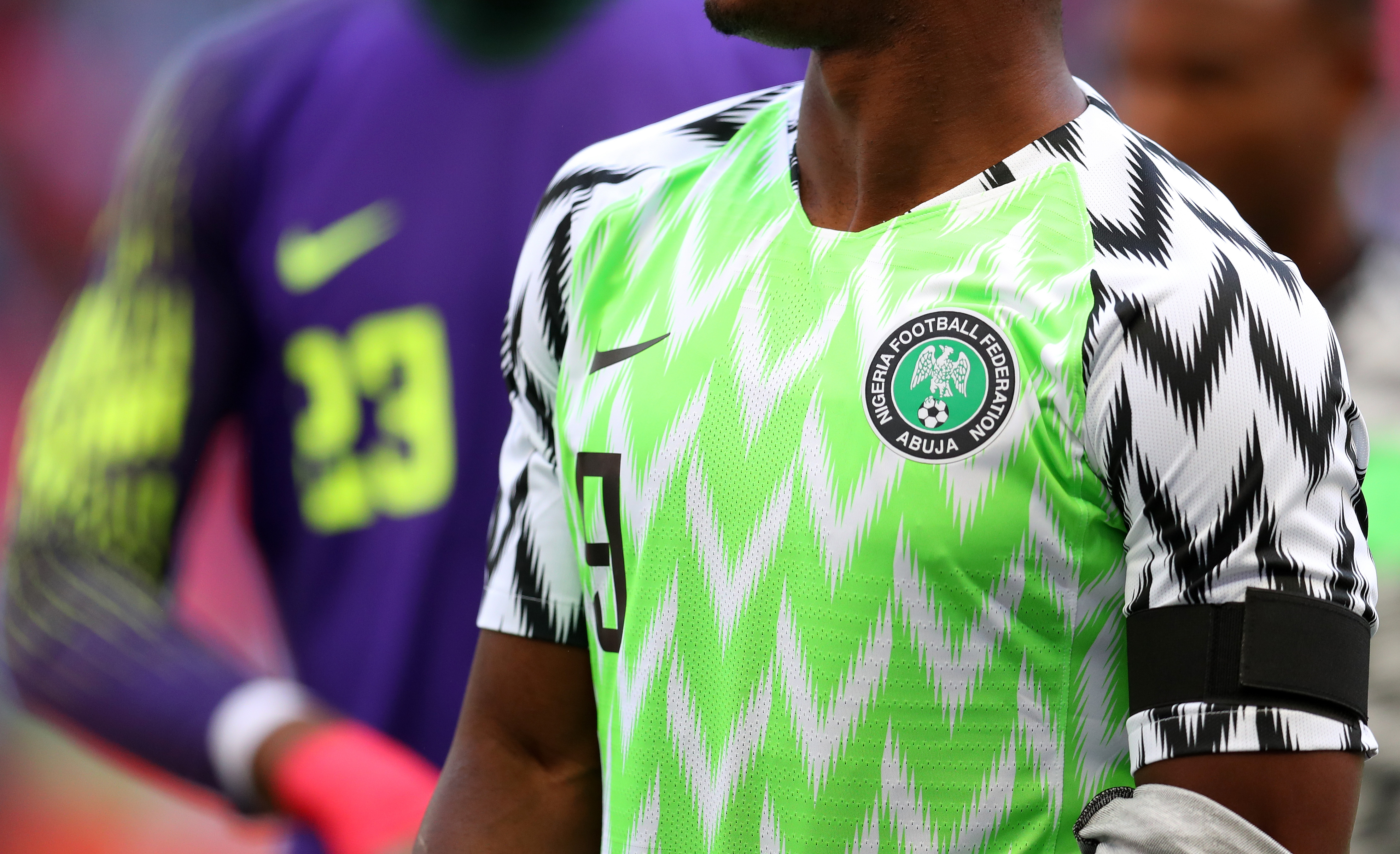 Detail of the Nigeria badge and shirt during the international friendly match between England and Nigeria at Wembley Stadium on June 2, 2018 in London, England.